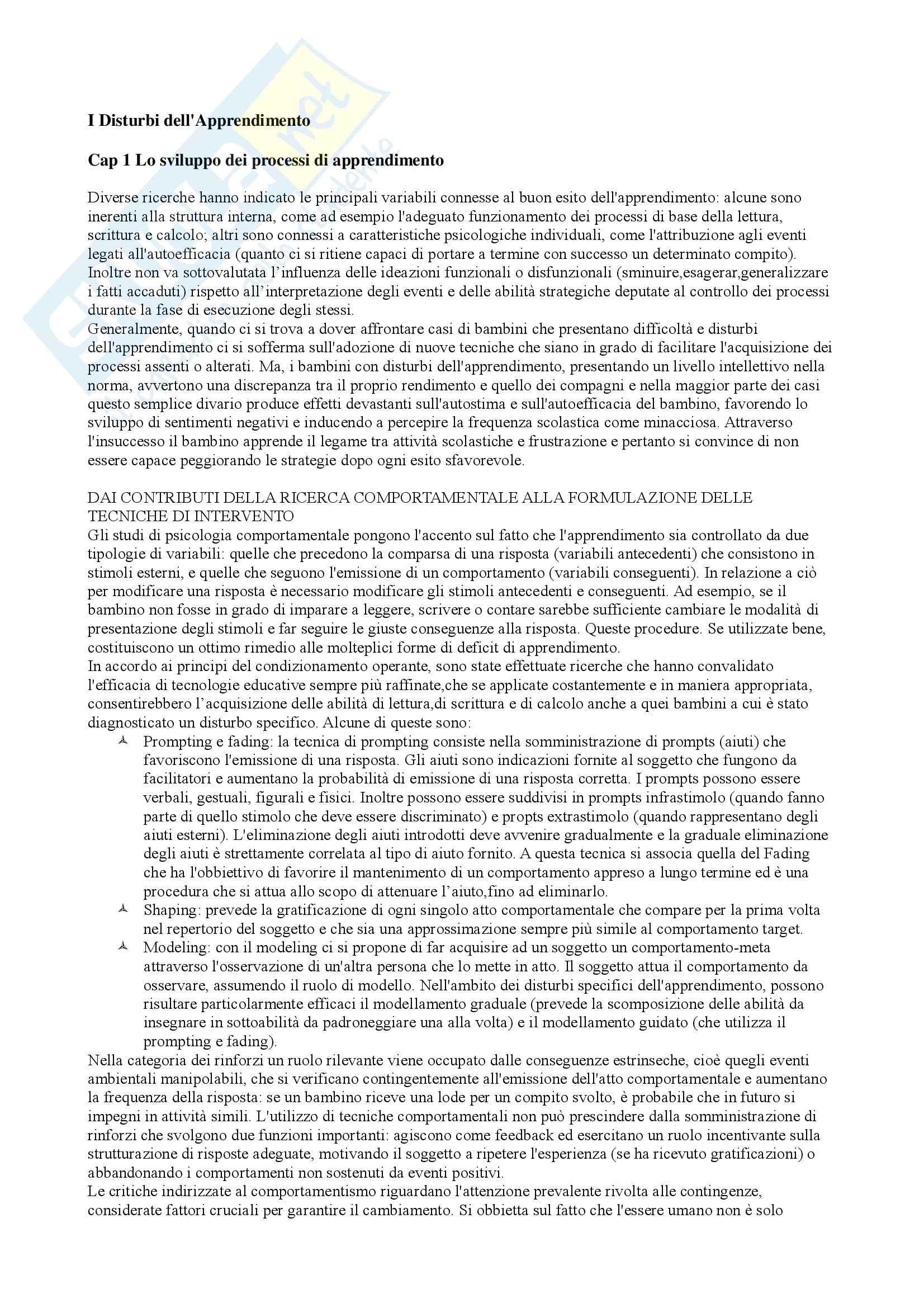 Riassunto esame Psicologia Scolastica, prof. Filipello, libro consigliato Disturbi dell'Apprendimento, Piccin