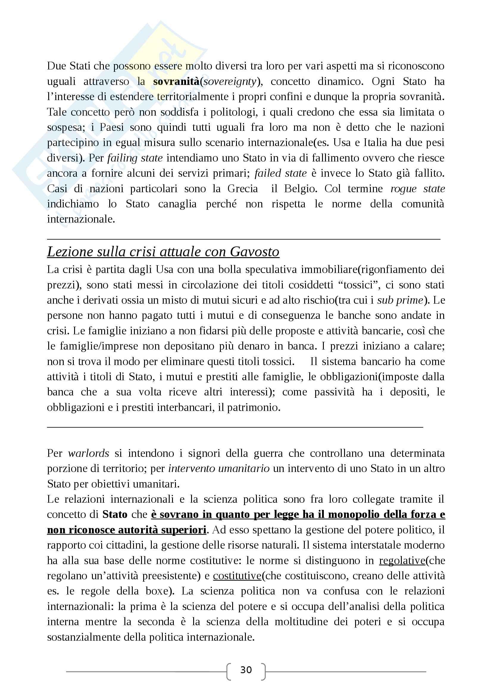 Relazioni Internazionali - prof. Caffarena Anna - Appunti Pag. 6