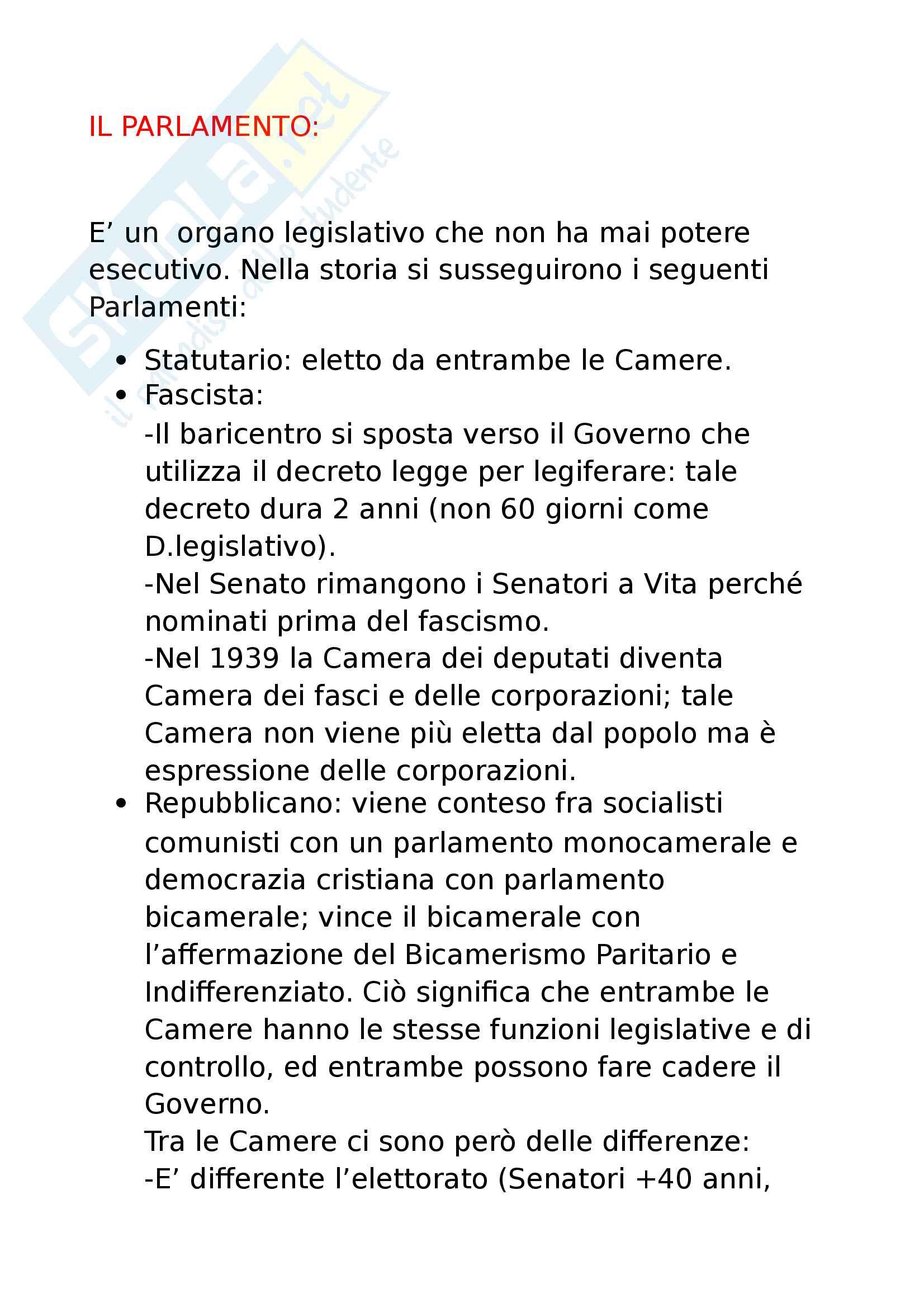 8 - il Parlamento, status di parlamentare, organizzazione elezioni Camera e Senato, funzioni e procedimento legislativo