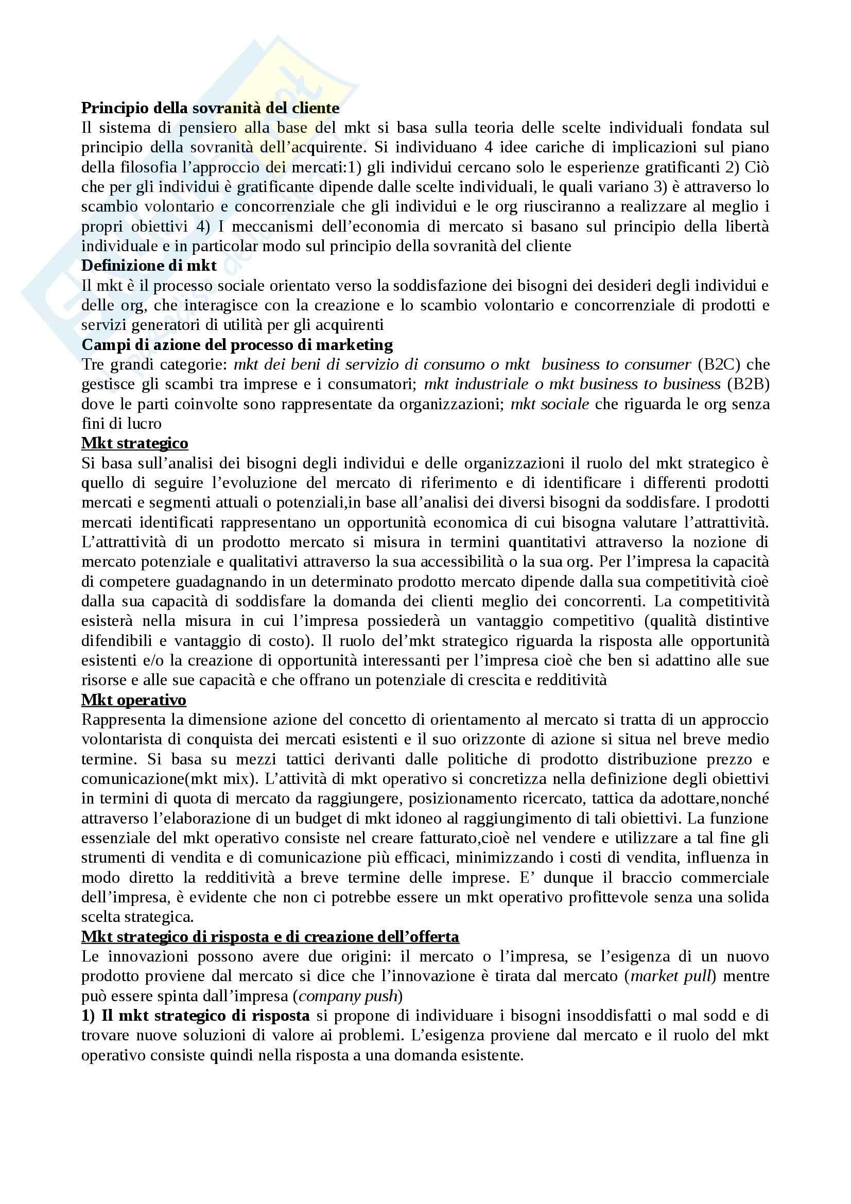 Riassunto esame Marketing, prof. Quarneti, libro consigliato Marketing Strategico e Operativo, Lambin