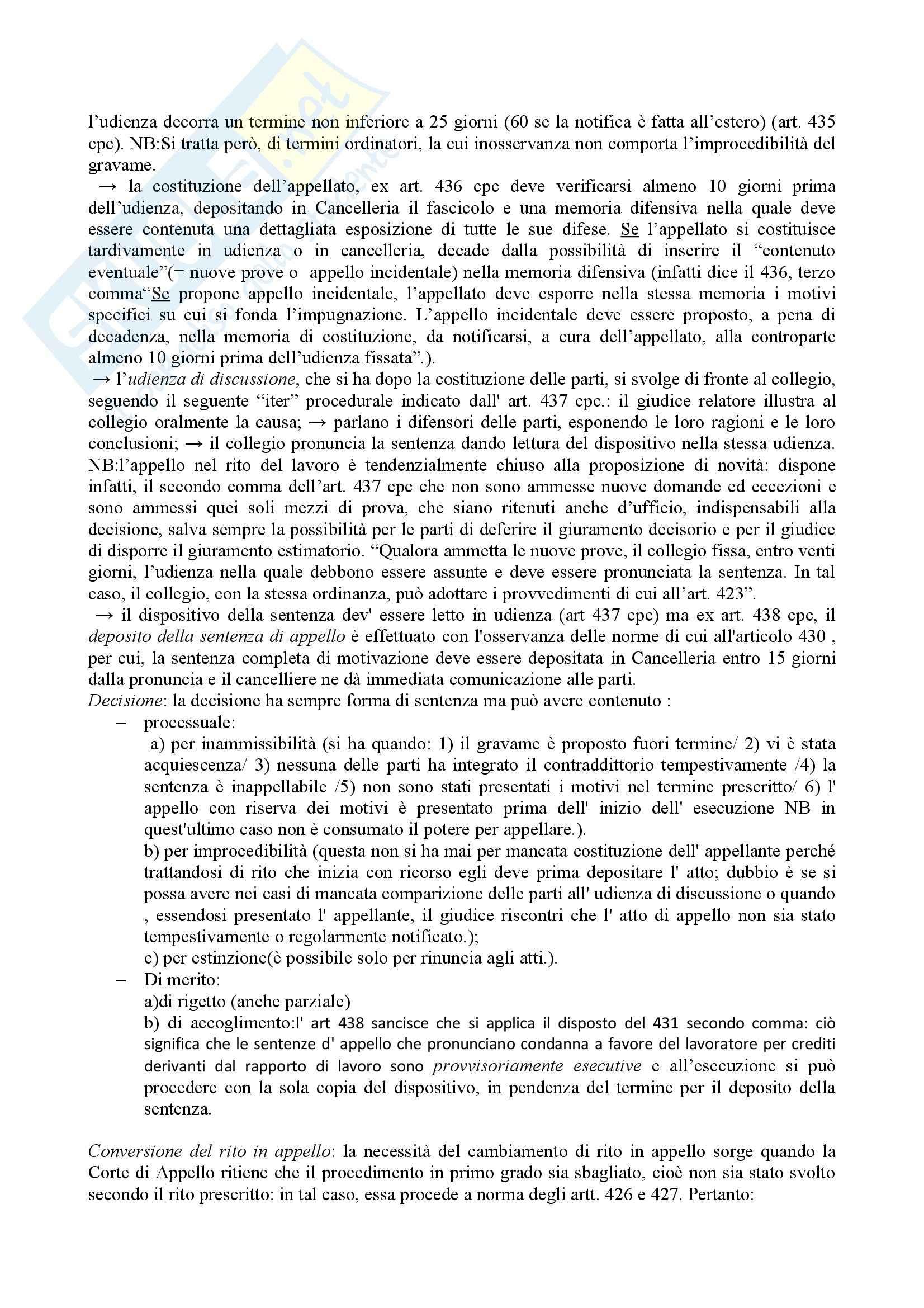Rito del lavoro, Diritto processuale civile Pag. 11
