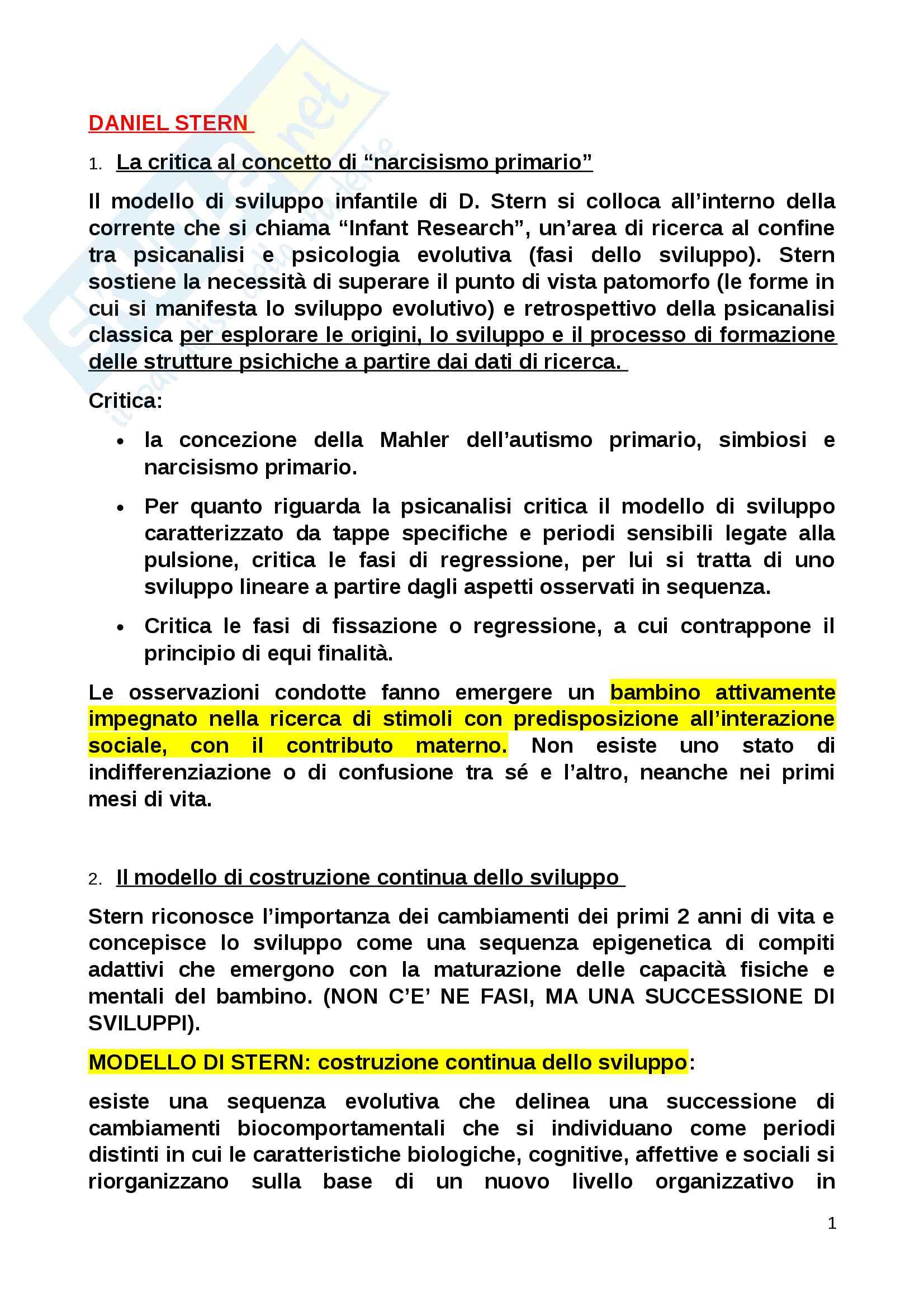 Riassunto esame Psicologia dinamica, prof. Stern, libro consigliato Manuale di psicologia dinamica, Zavattini