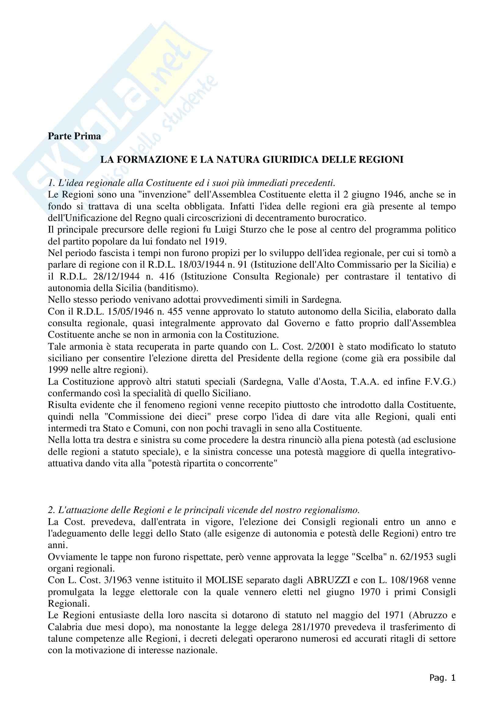 Riassunto esame Diritto Regionale e degli Enti Locali, prof. Cavalieri, libro consigliato, Rolla
