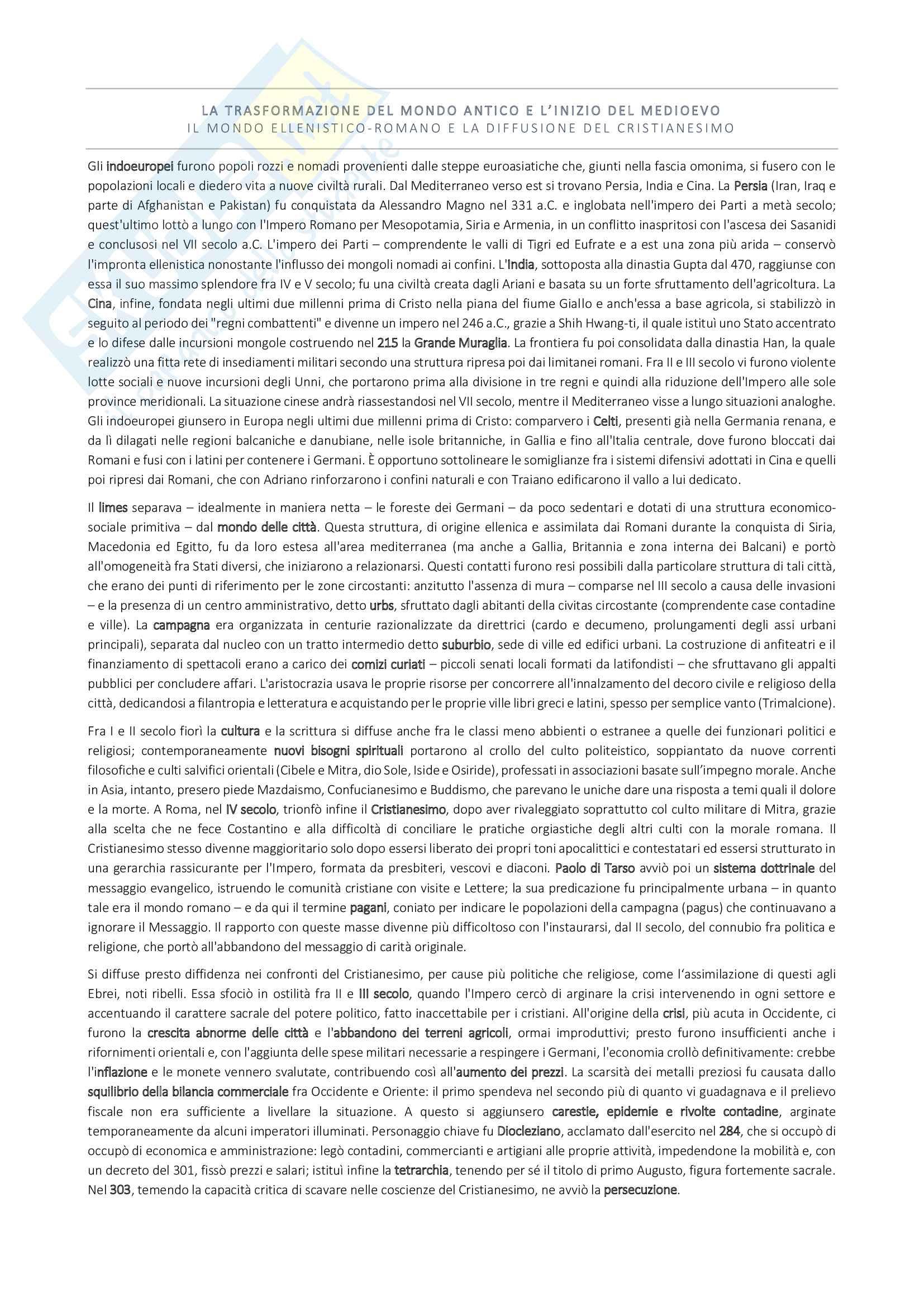 """Riassunto esame Storia Medievale, prof. Tognetti, libro consigliato """"Medioevo - I caratteri generali di un'età di transizione"""" di G. Vitolo"""