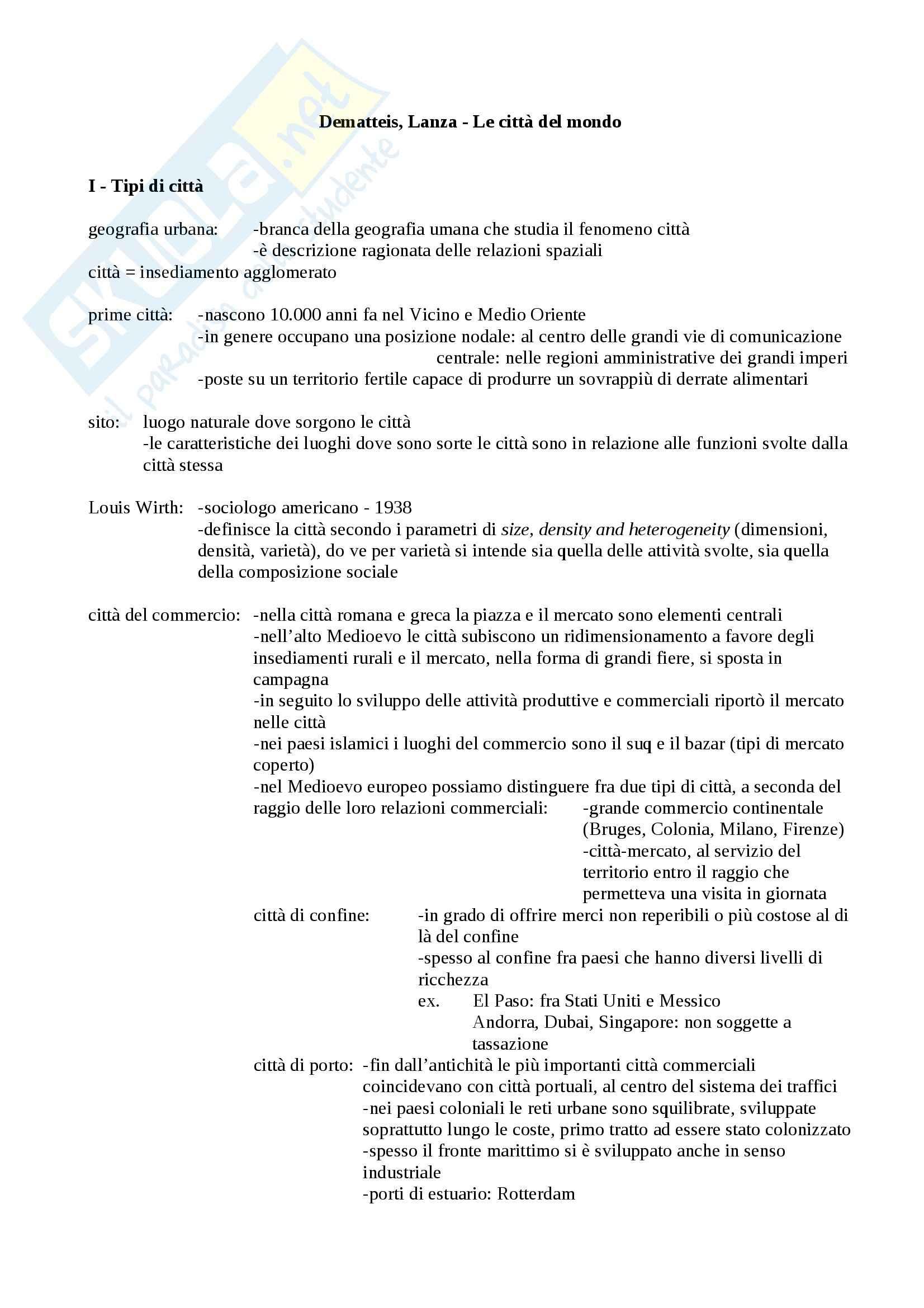 Riassunto esame Geografia, prof. Macchia, libro consigliato Le città del mondo, De Matteis, Lanza