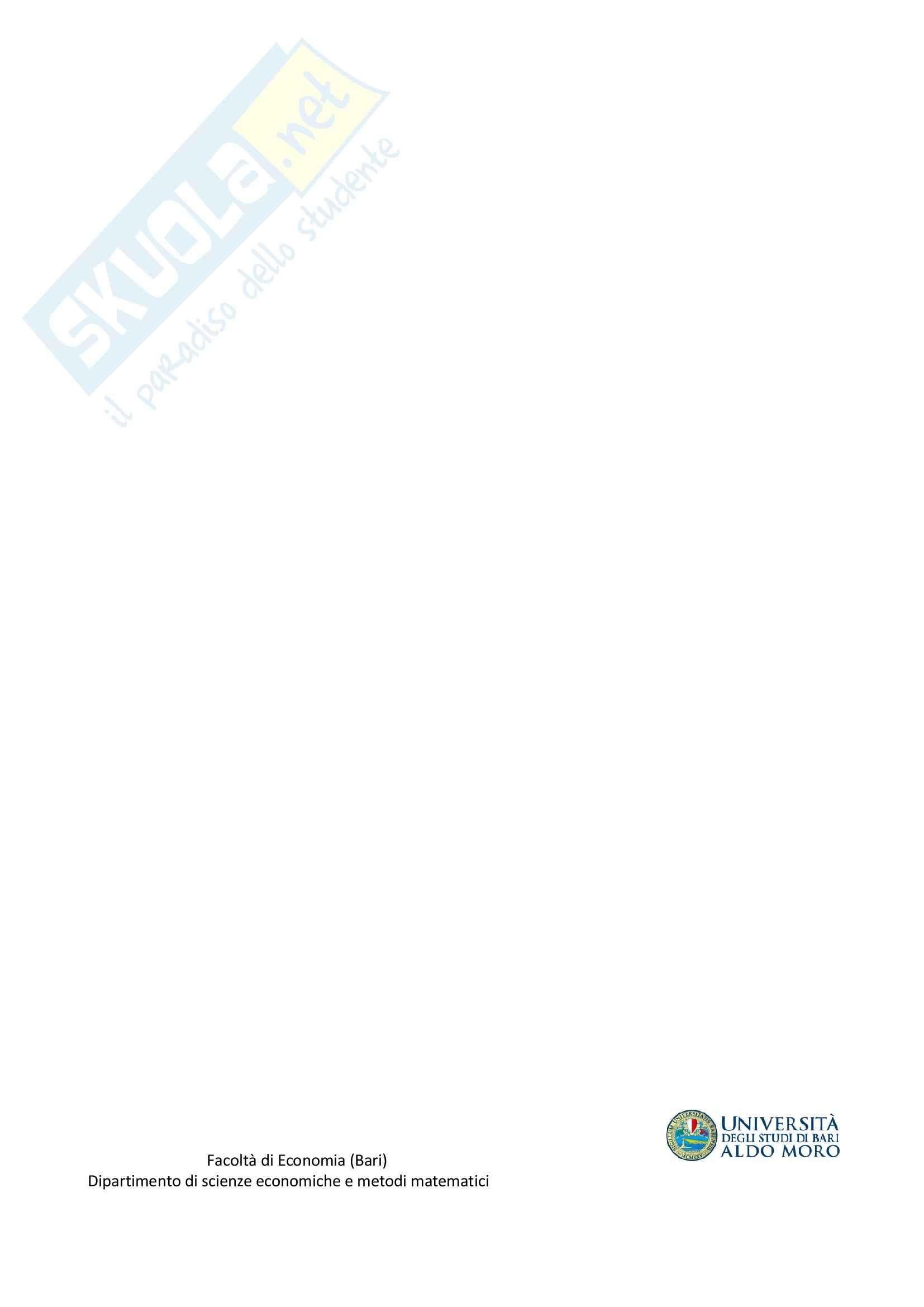 Riassunto esame Matematica, prof. Attalienti, libro consigliato Matematica Per L'Economia