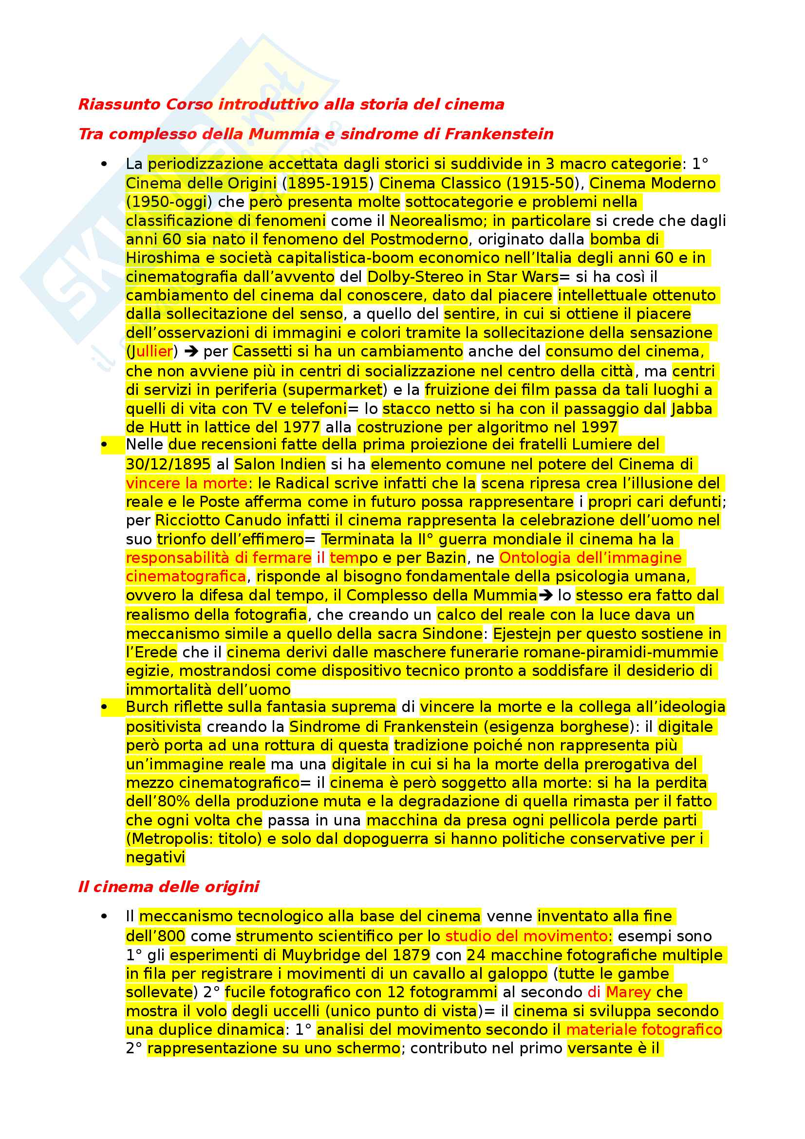 Riassunto esame storia e critica del cinema, prof. Subini, libro consigliato Corso introduttivo alla storia del cinema Tomaso Subini