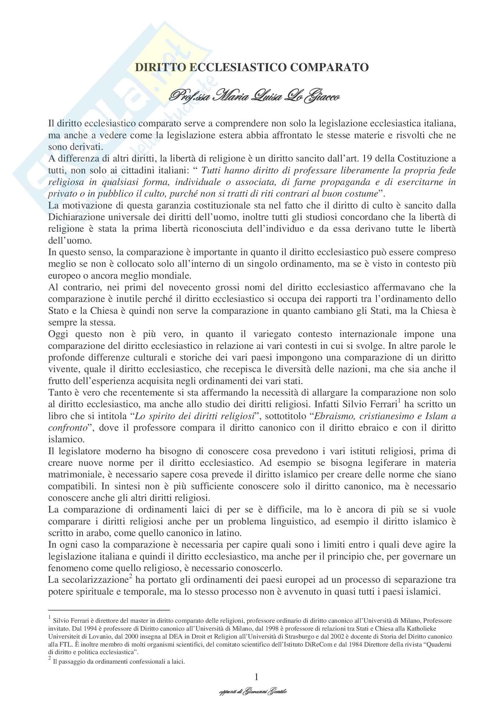 Diritto ecclesiastico comparato - Appunti