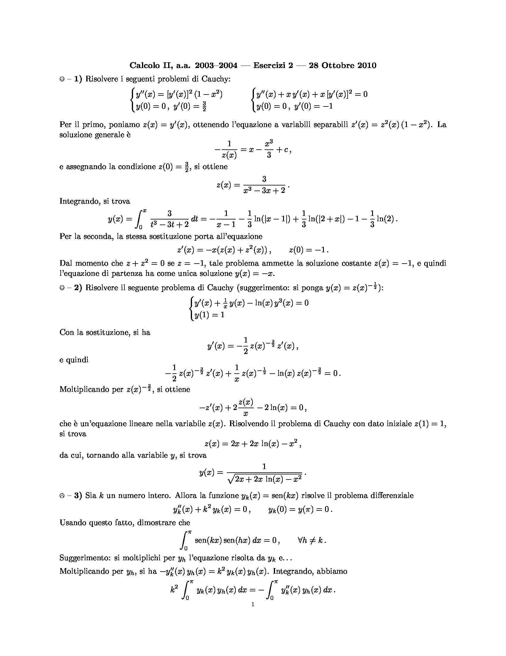 Problema di Cauchy - Soluzioni