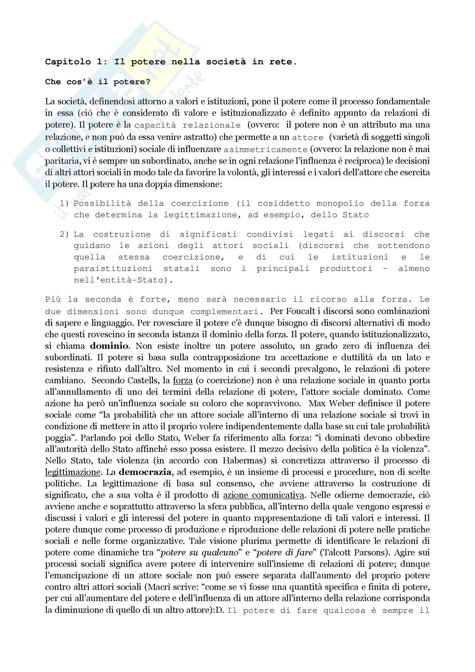 Comunicazione e potere - Castells (cap.1)