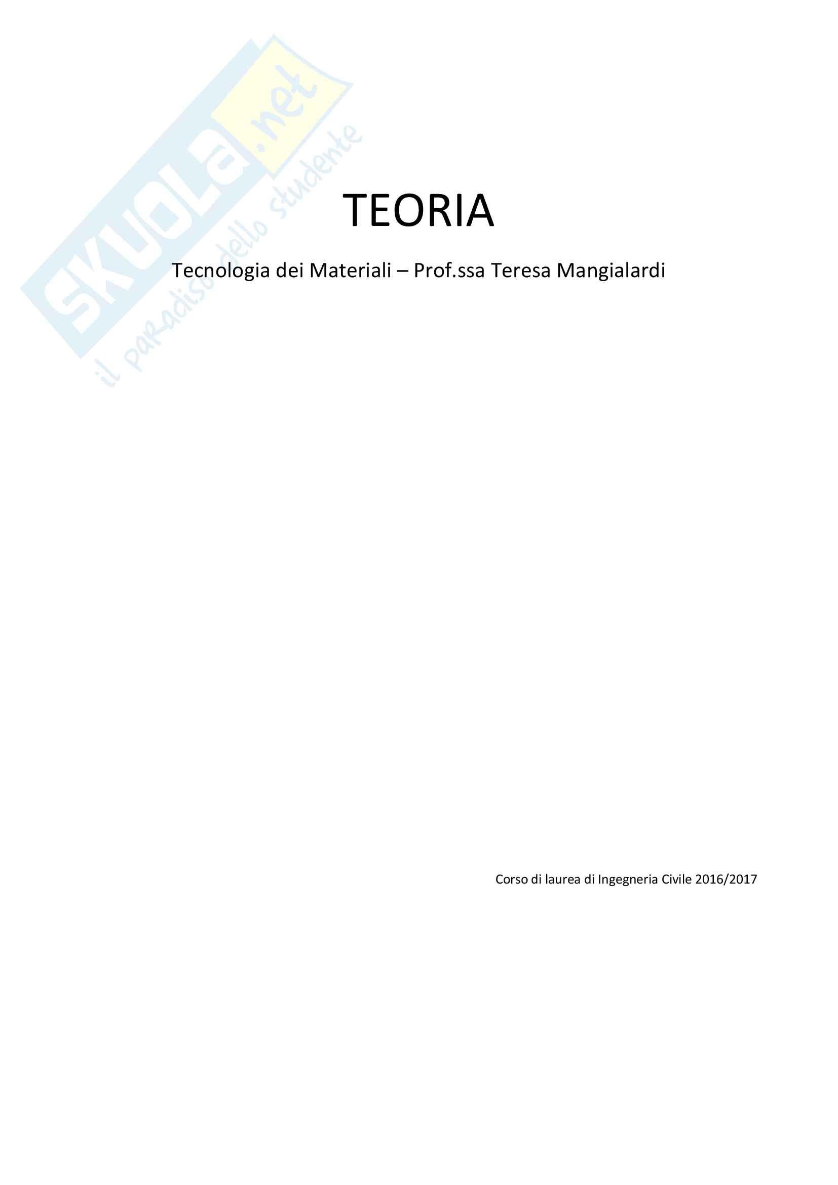 Tutte le lezioni trascritte - Tecnologia dei Materiali - Teoria