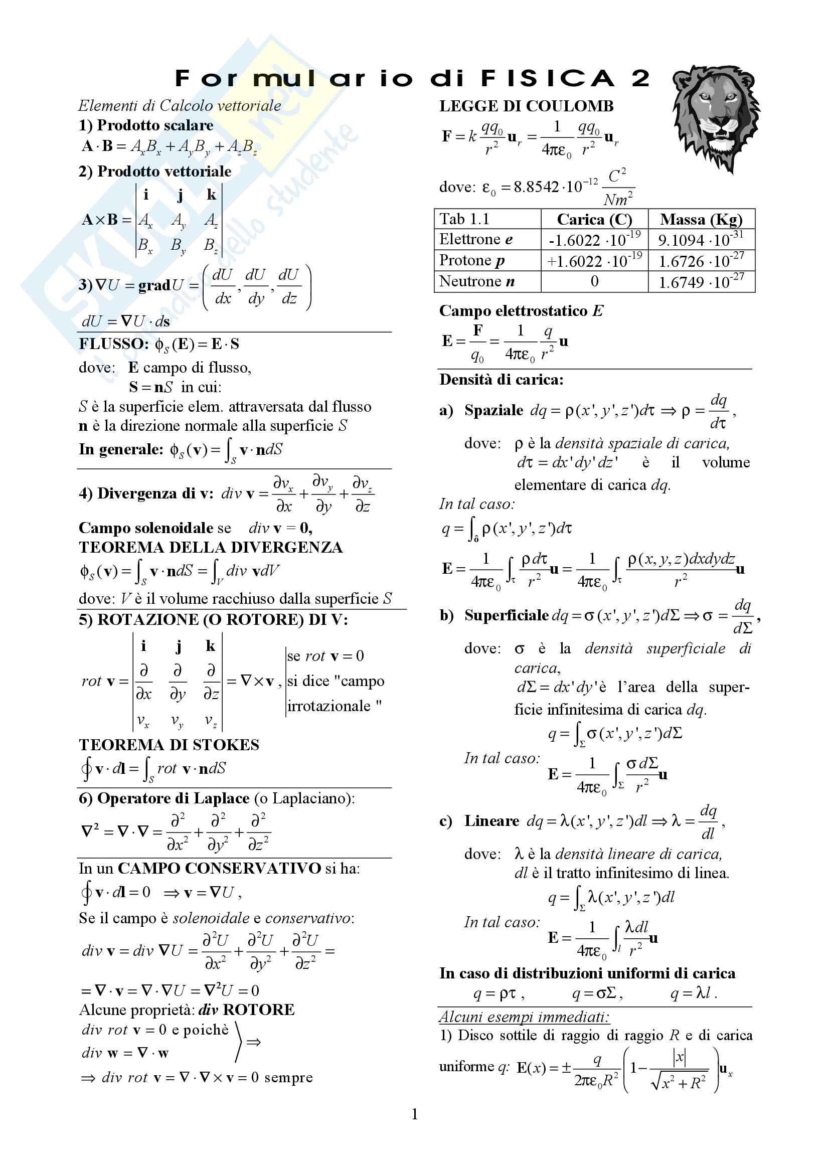 Fisica generale II - Formulario