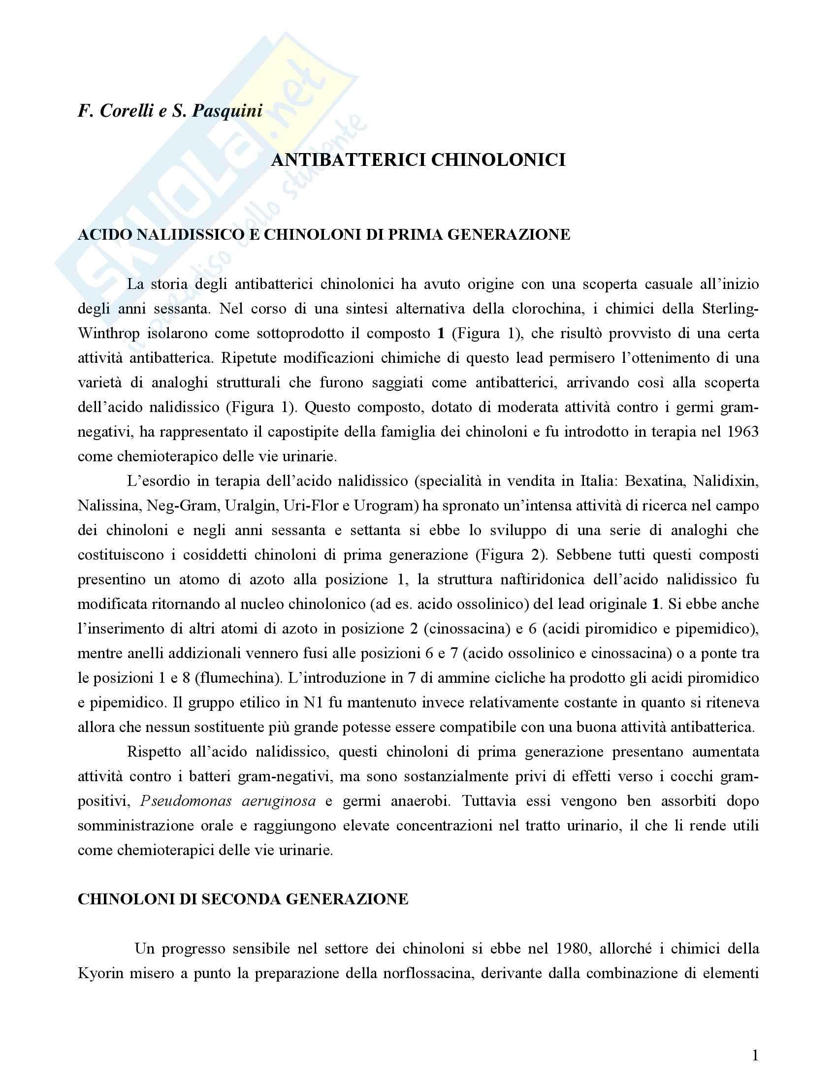 Chimica farmaceutica - antibatterici chinolonici