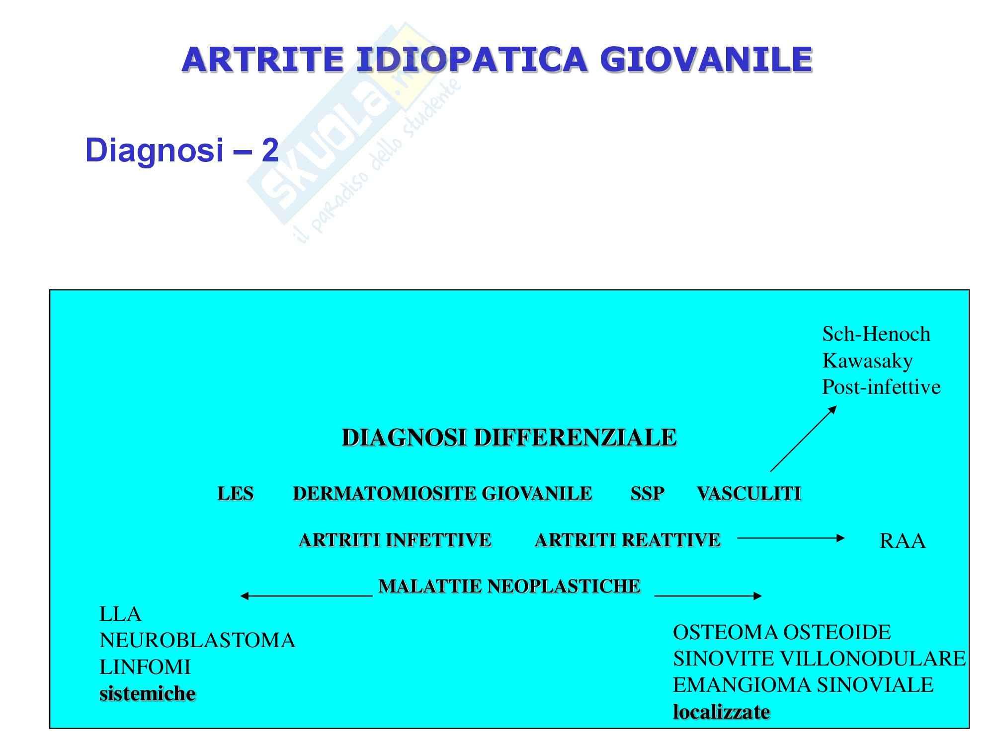 Reumatologia - Artriti Giovanili Dignosi Evoluzione Pag. 2