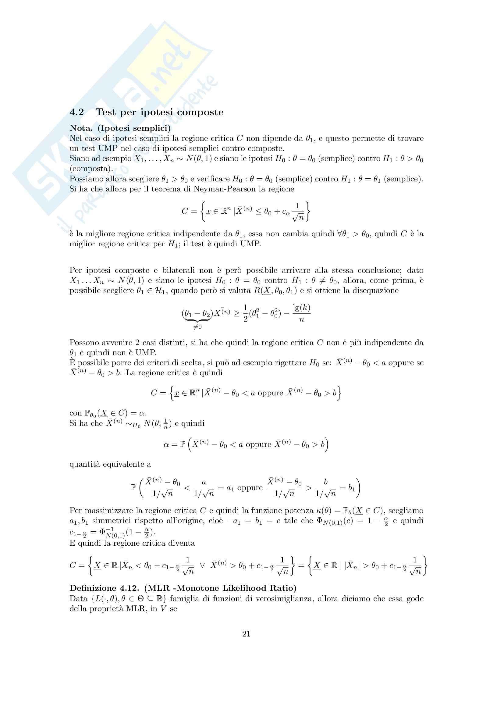 Calcolo delle probabilità e Statistica Matematica 2 - Appunti Pag. 21
