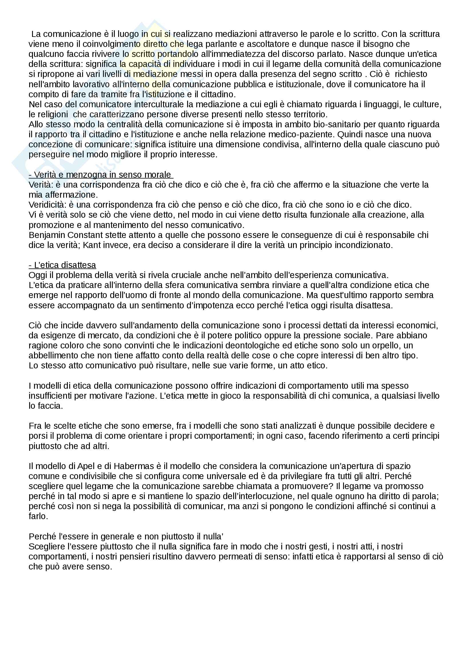 """Riassunto esame di Etica della comunicazione, prof. Gessi,  libro consigliato """"Etica della comunicazione"""",  autore Fabris Adriano Pag. 6"""