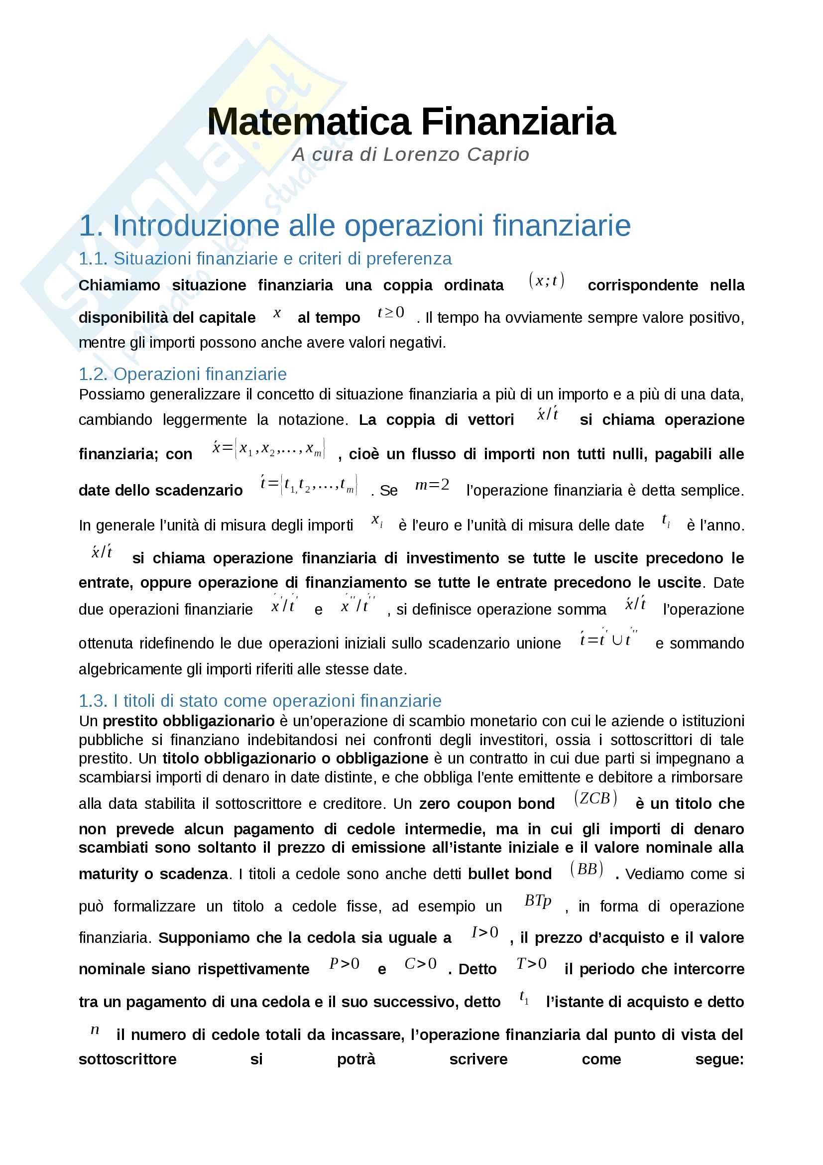 Matematica finanziaria - de marchis