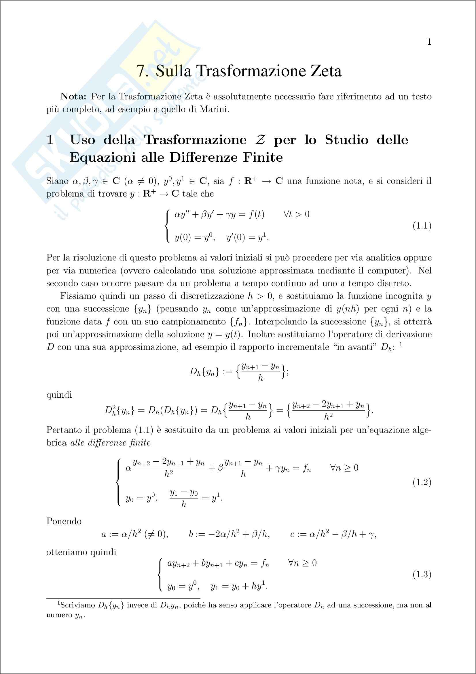 Metodi Matematici – Trasformazione Zeta