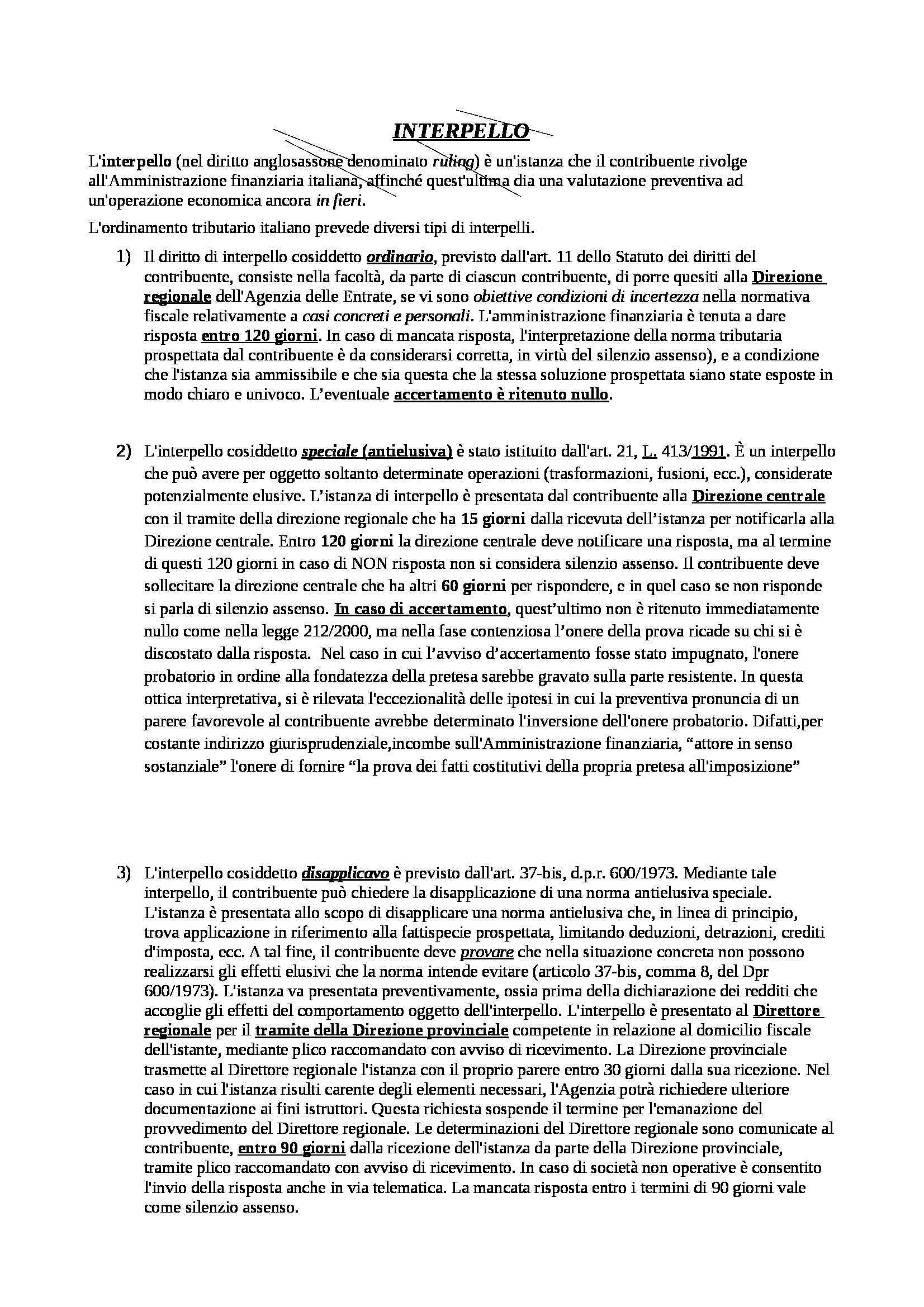 Diritto tributario - tipi di interpello