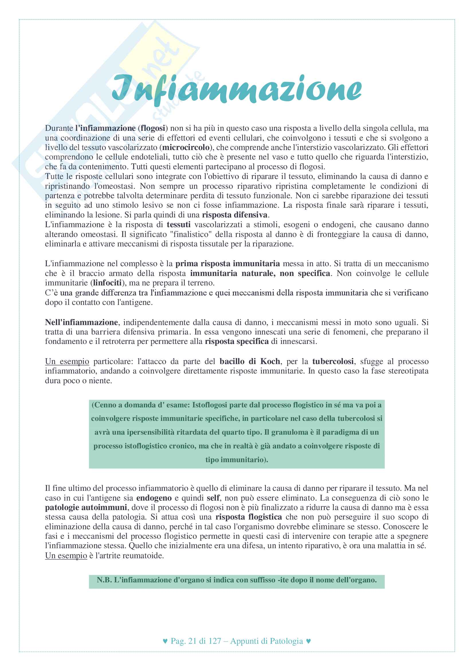 Riassunto esame di Patologia Generale, docente Di Fiore, libro consigliato patologia generale, Robbins Pag. 21