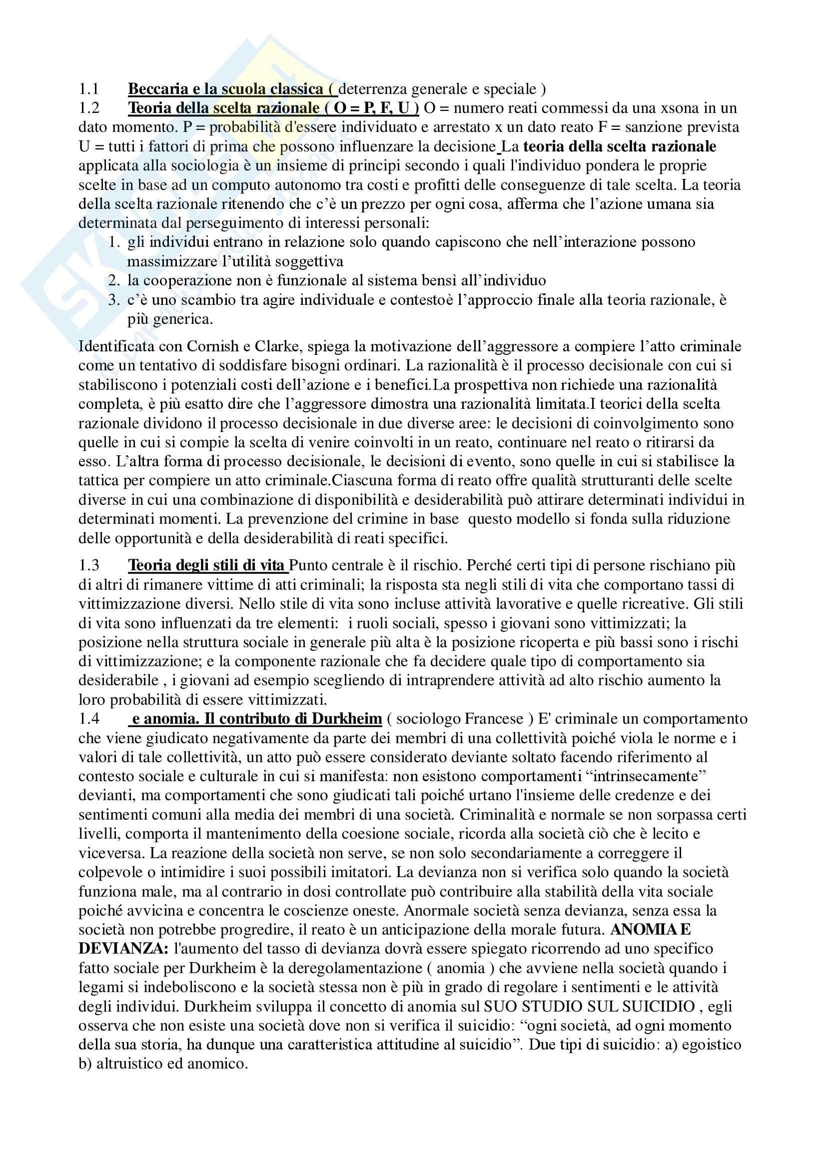 Sociologia della devianza - Appunti