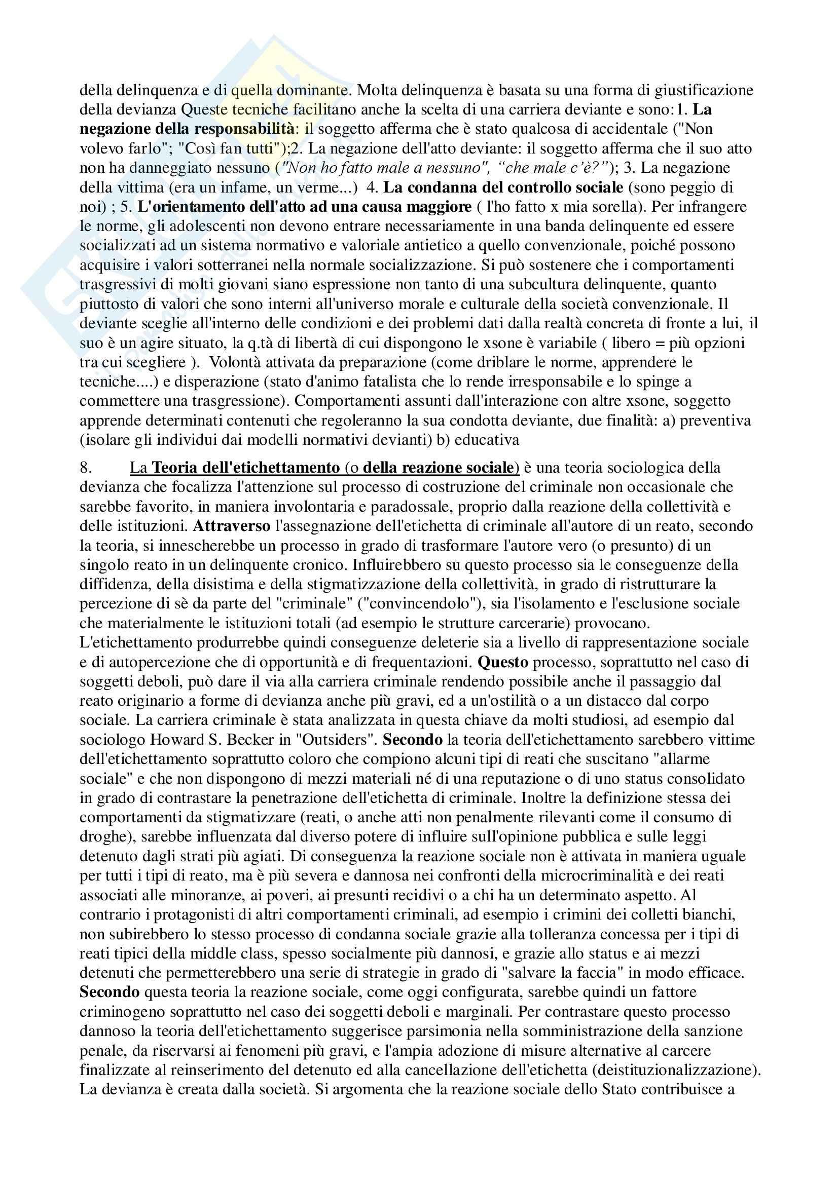 Sociologia della devianza - Appunti Pag. 6