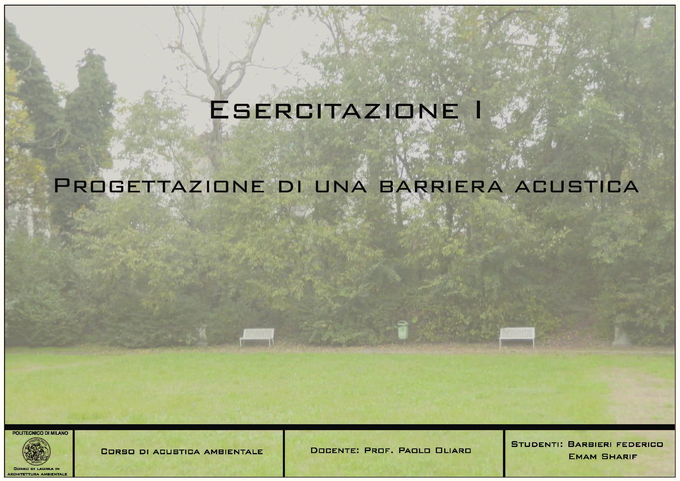 Acustica ambientale - esercitazione