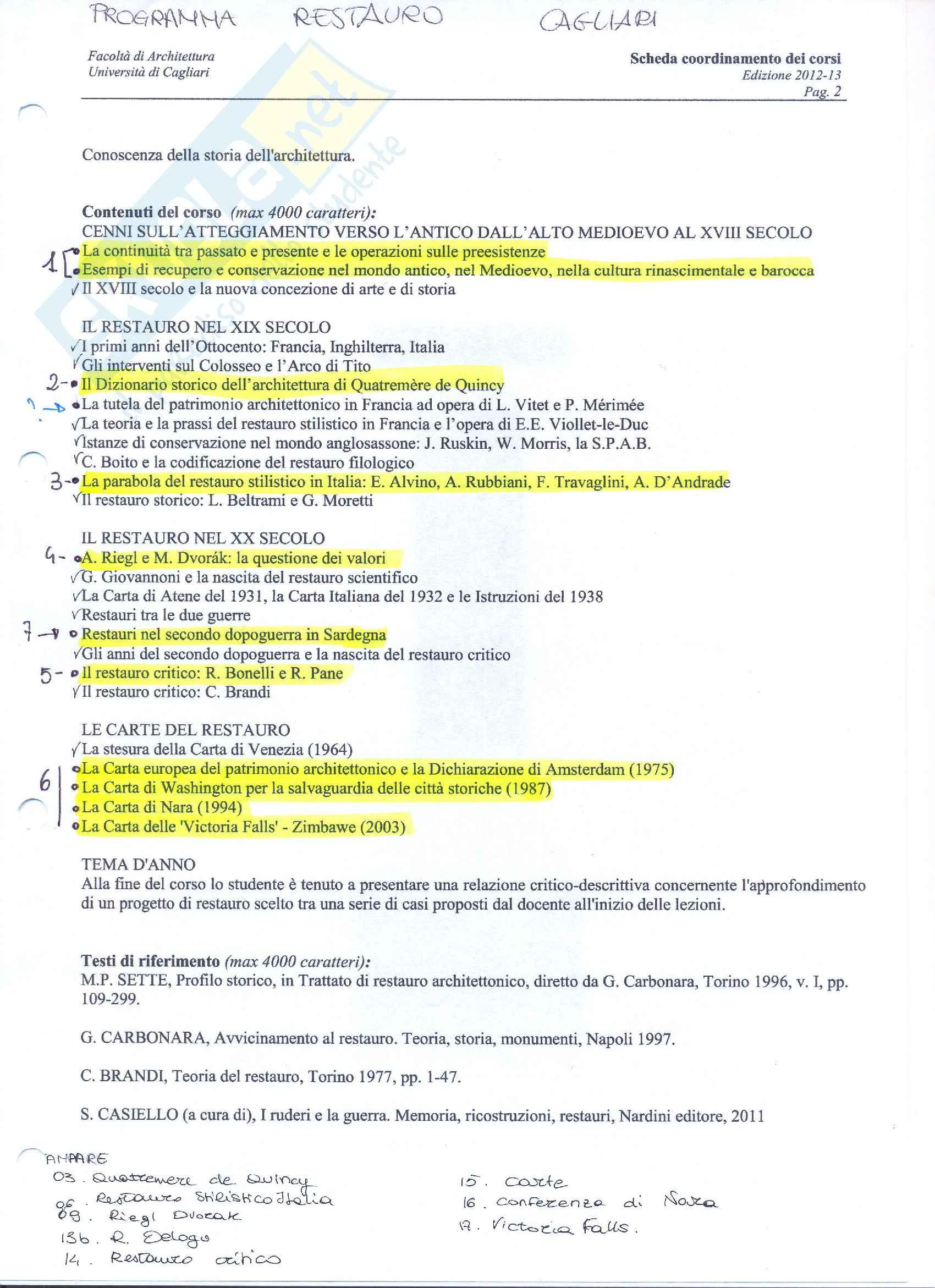 Appunti di Teoria e storia del restauro