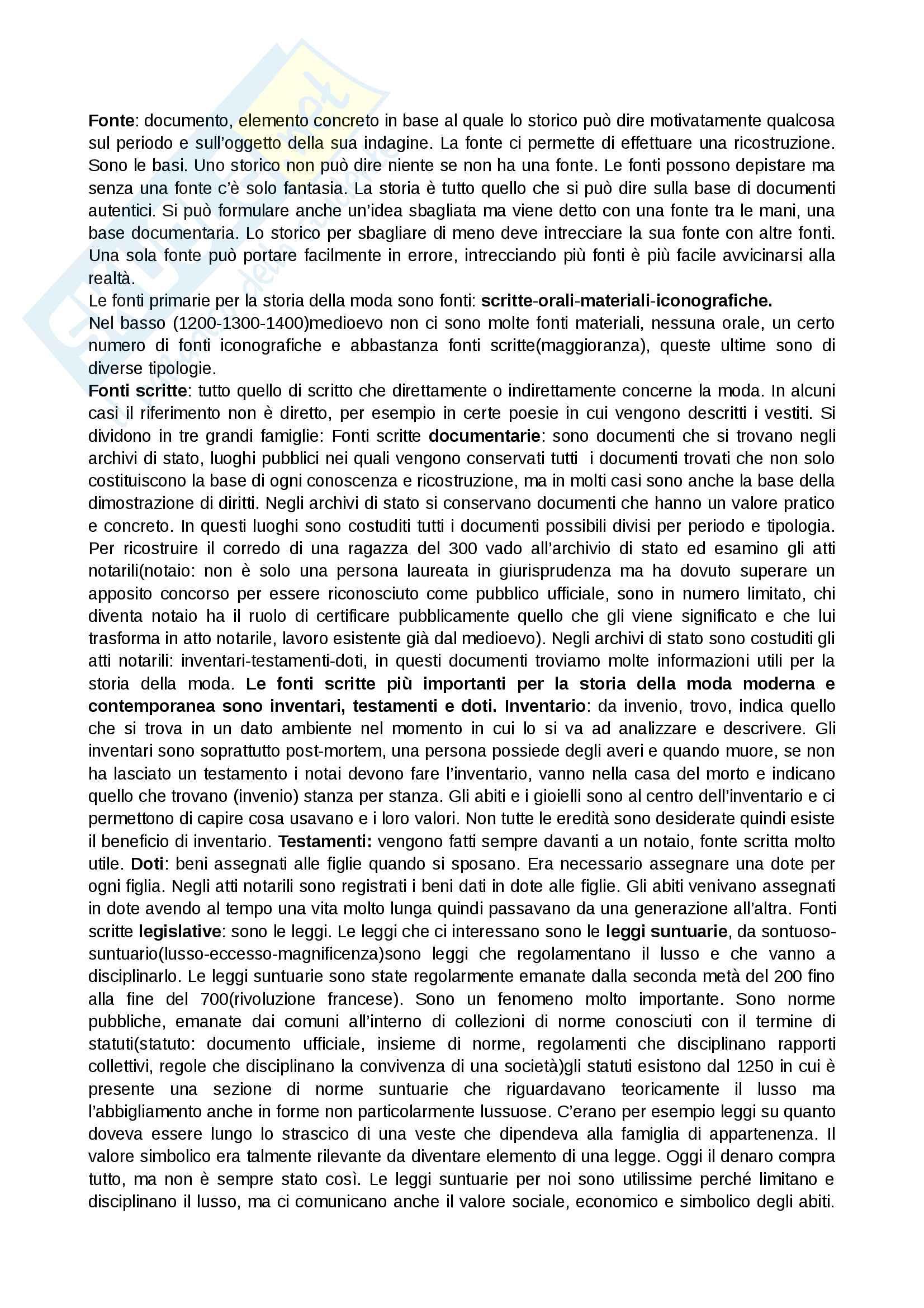 Storia del costume e della moda, prof.ssa Muzzarelli, appunti e descrizioni immagini