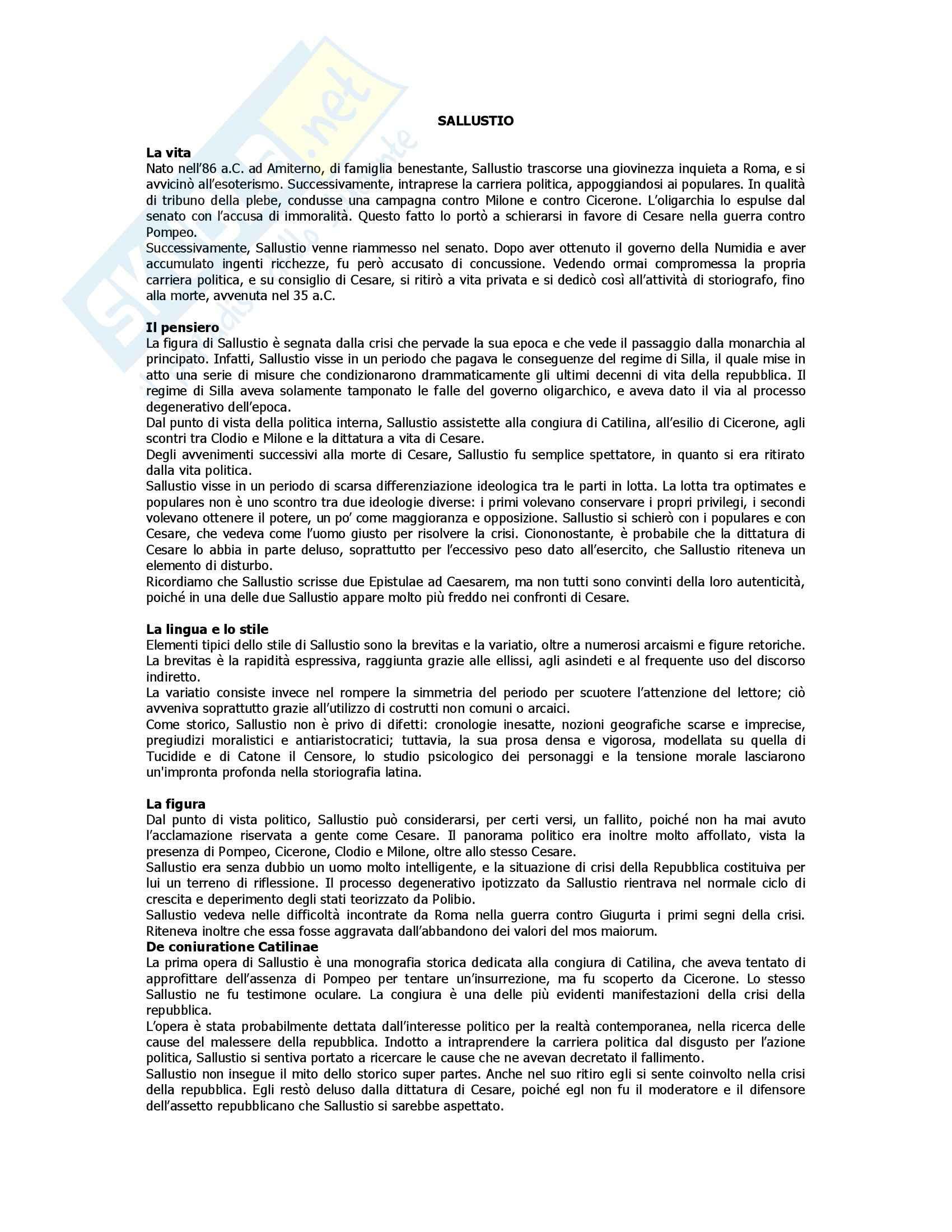 Letteratura latina - Sallustio - Appunti