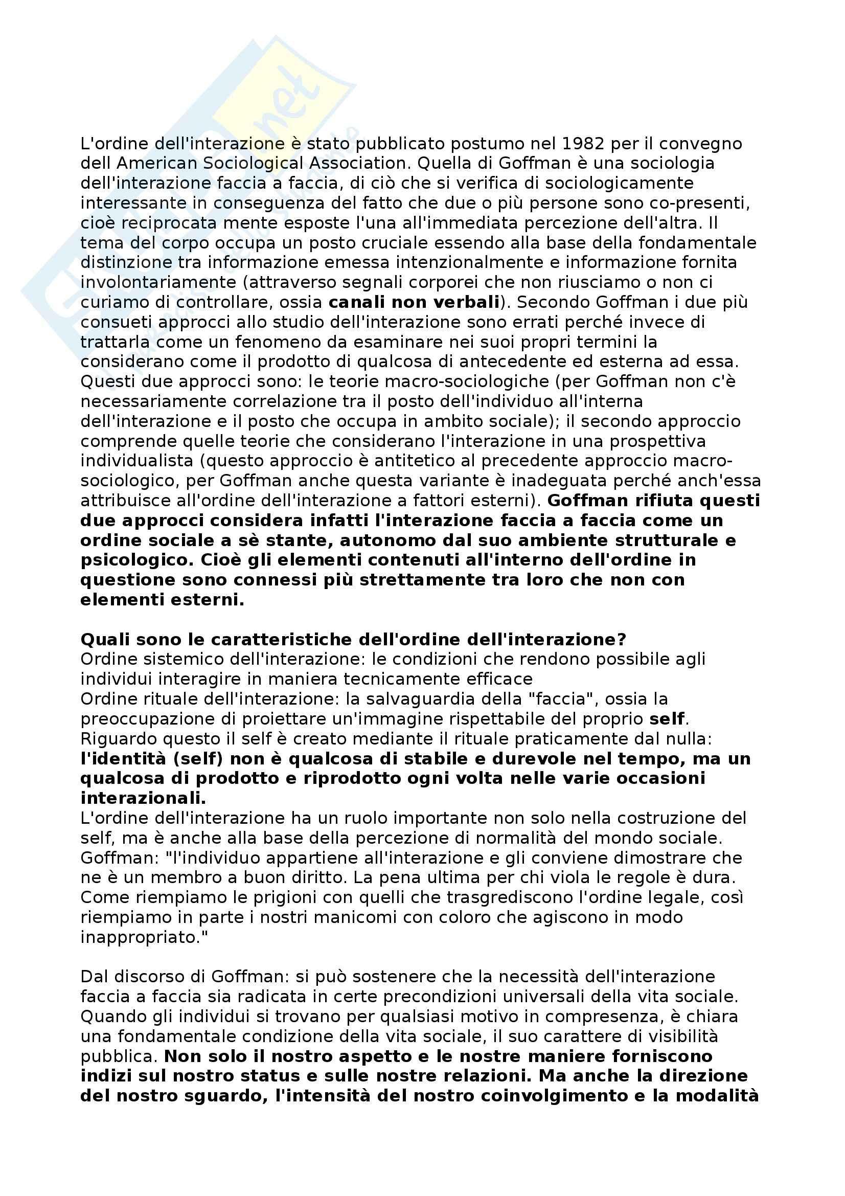 Riassunto esame Sociologia della comunicazione, prof. Lalli, libro consigliato Ordine dell'interazione, Goffman
