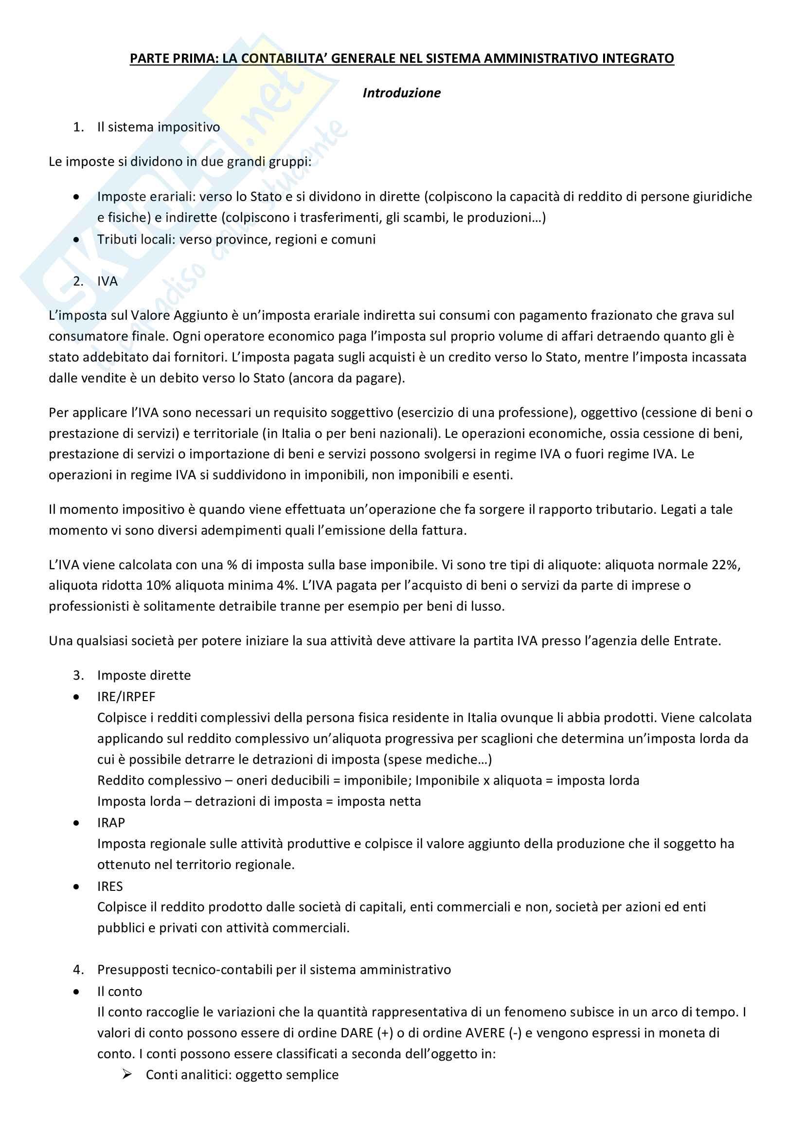 Elementi di Contabilità e Bilancio - Riassunto completo