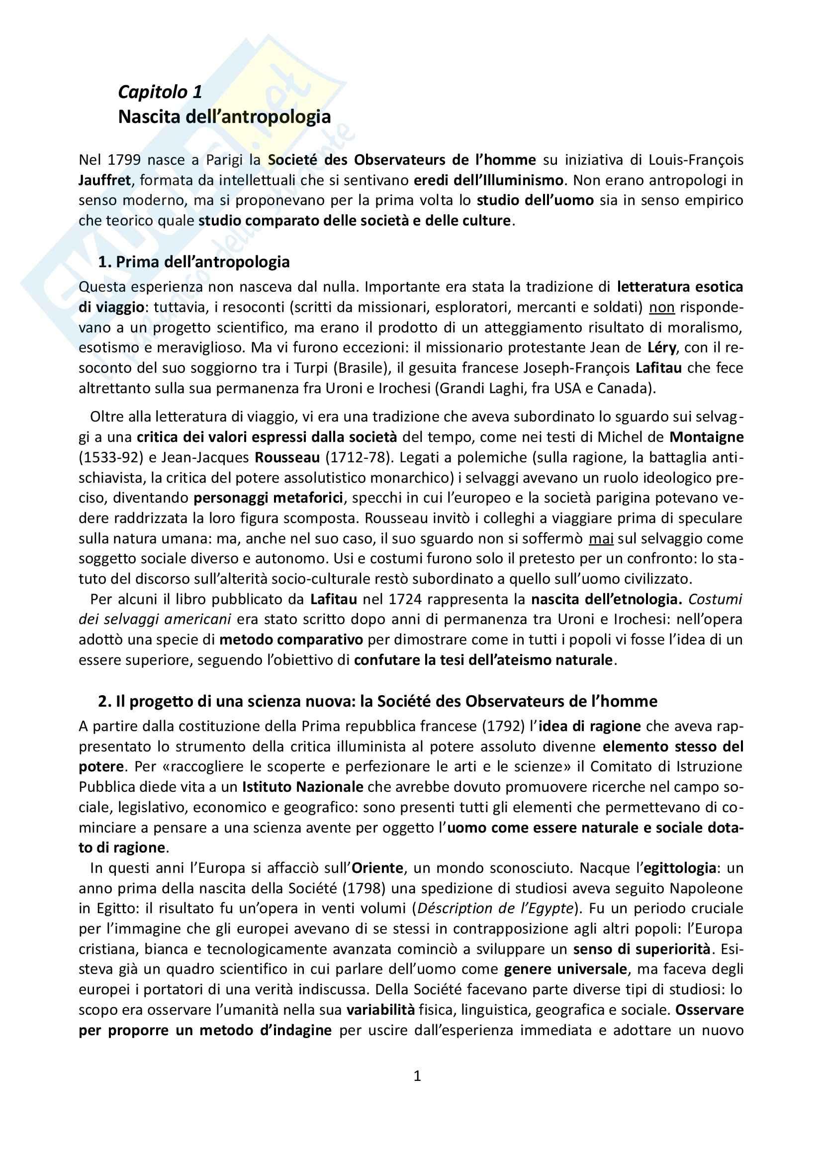 Riassunto esame Antropologia, prof. Allovio, libro consigliato Storia dell'antropologia, Fabietti