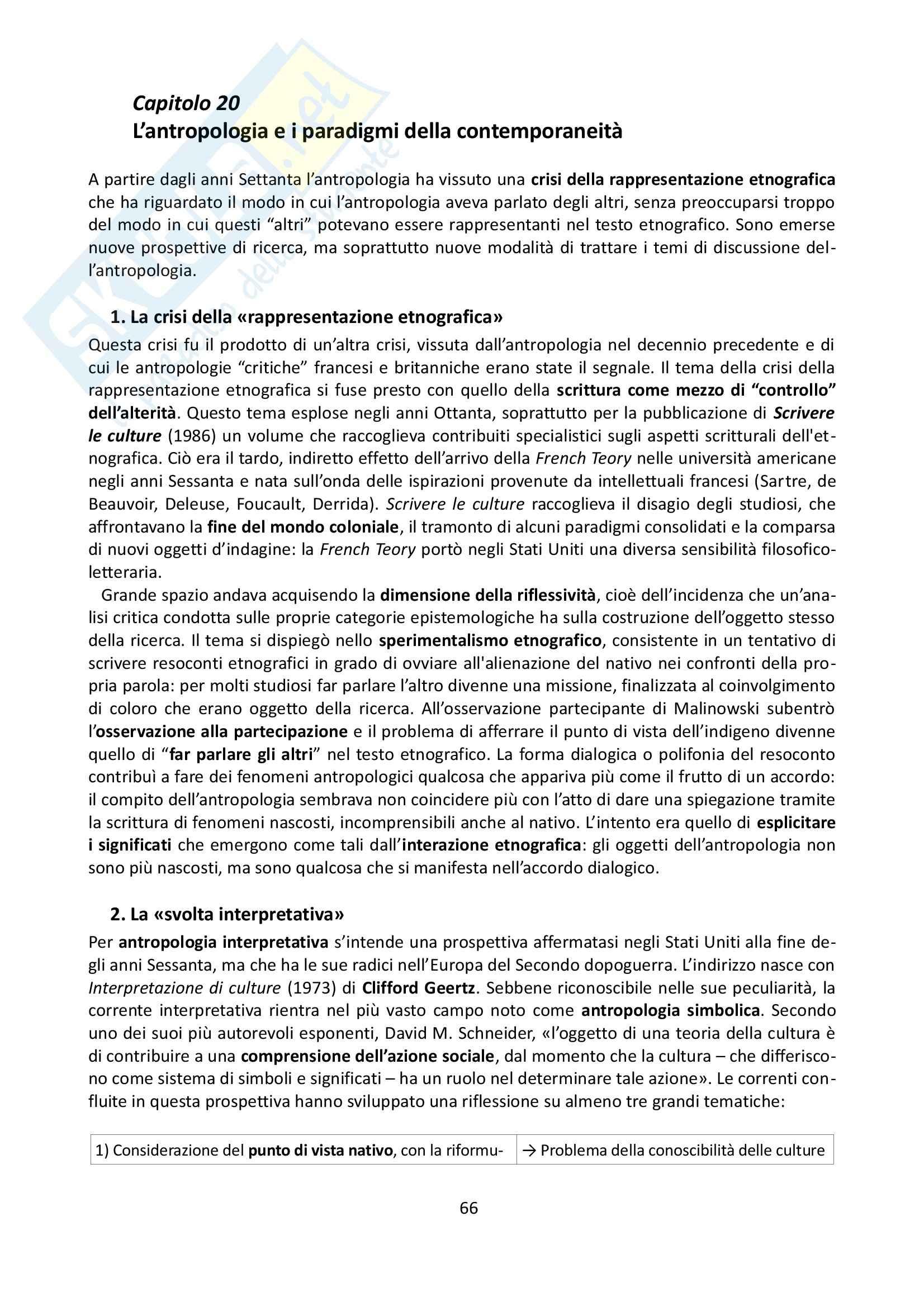 Riassunto esame Antropologia, prof. Allovio, libro consigliato Storia dell'antropologia, Fabietti Pag. 66