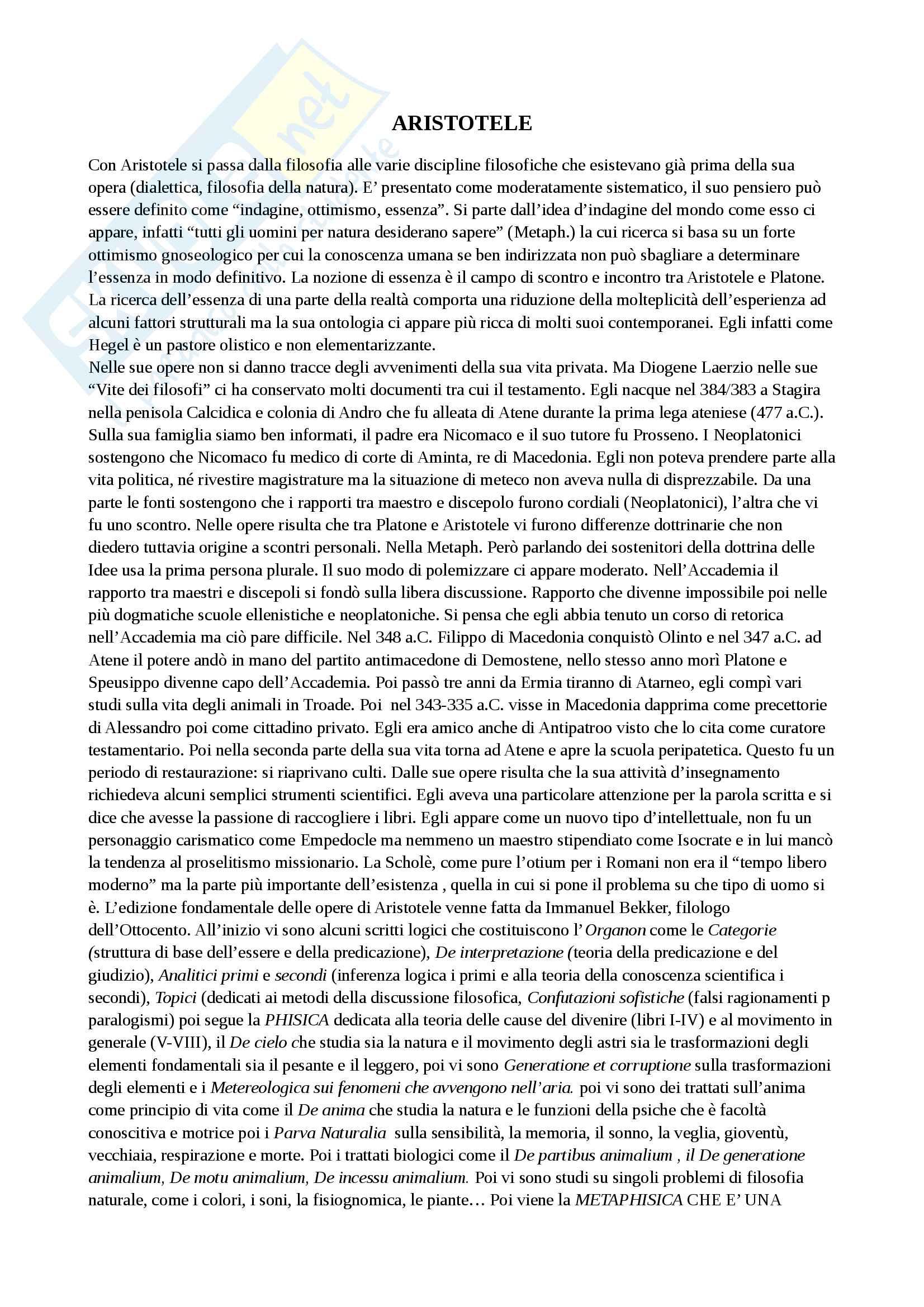 Riassunto esame storia della filosofia antica, con prof. Emidio Spinelli, libro consigliato Aristotele di Carlo Natali
