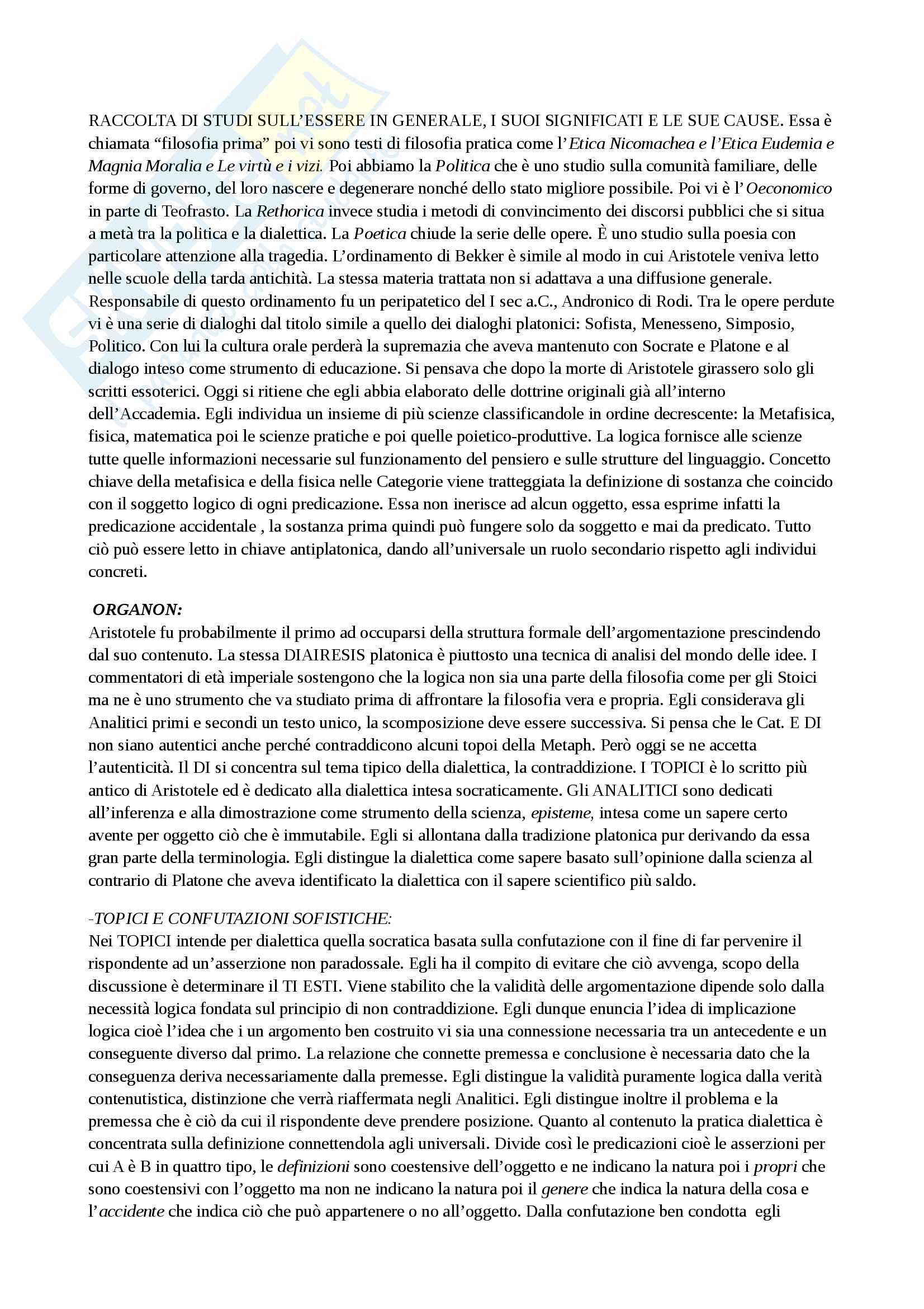 Riassunto esame storia della filosofia antica, con prof. Emidio Spinelli, libro consigliato Aristotele di Carlo Natali Pag. 2