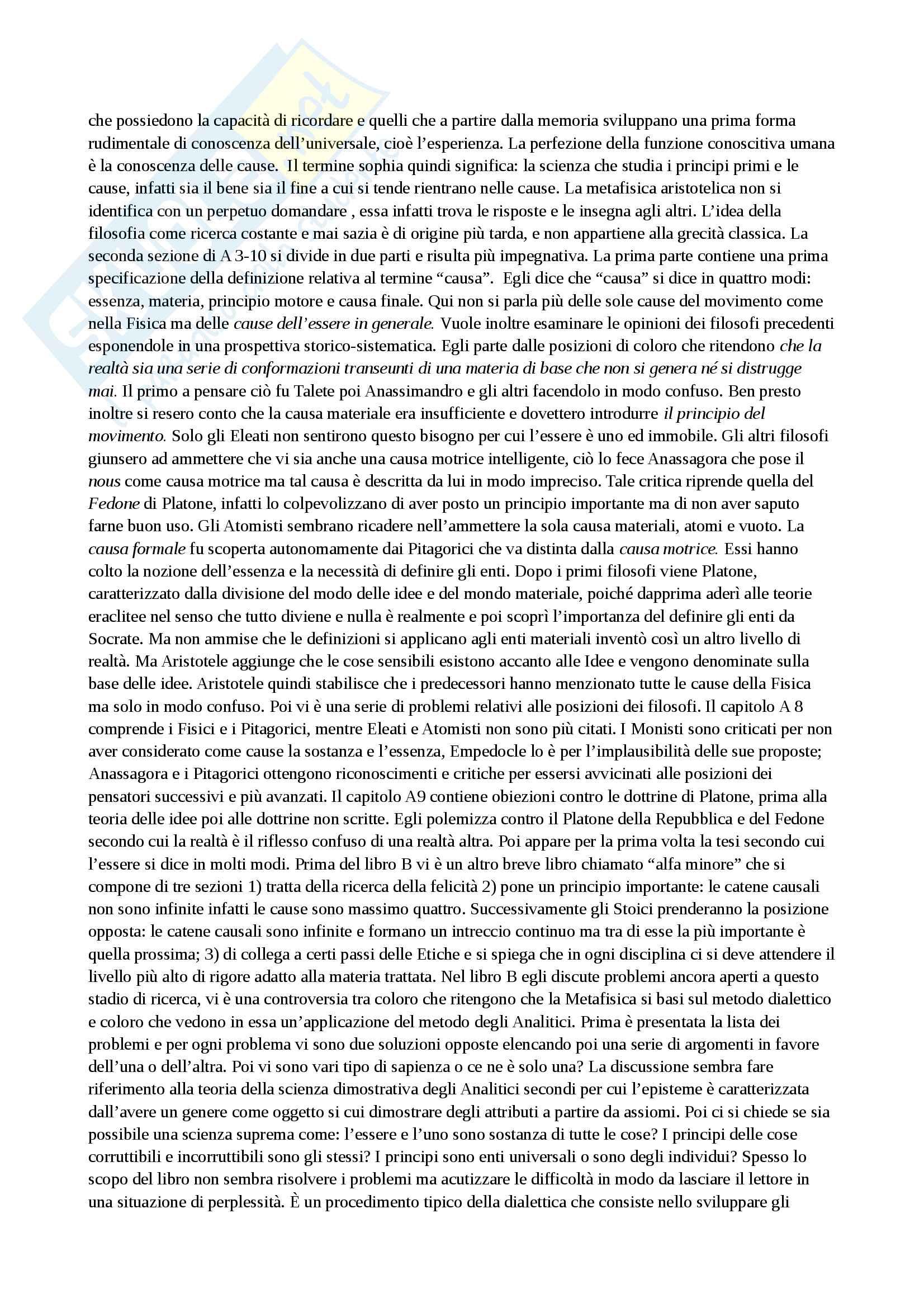 Riassunto esame storia della filosofia antica, con prof. Emidio Spinelli, libro consigliato Aristotele di Carlo Natali Pag. 6