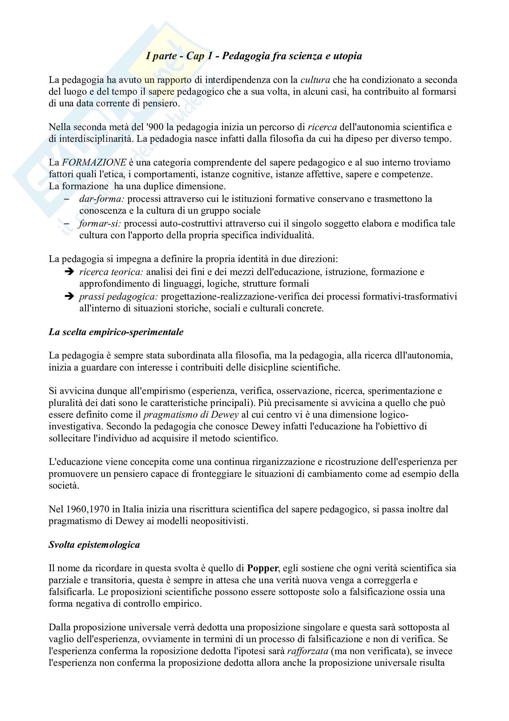 Riassunto Esame Pedagogia Generale, Zedda, Libro consigliato Introduzione alla pedagogia, Frabboni