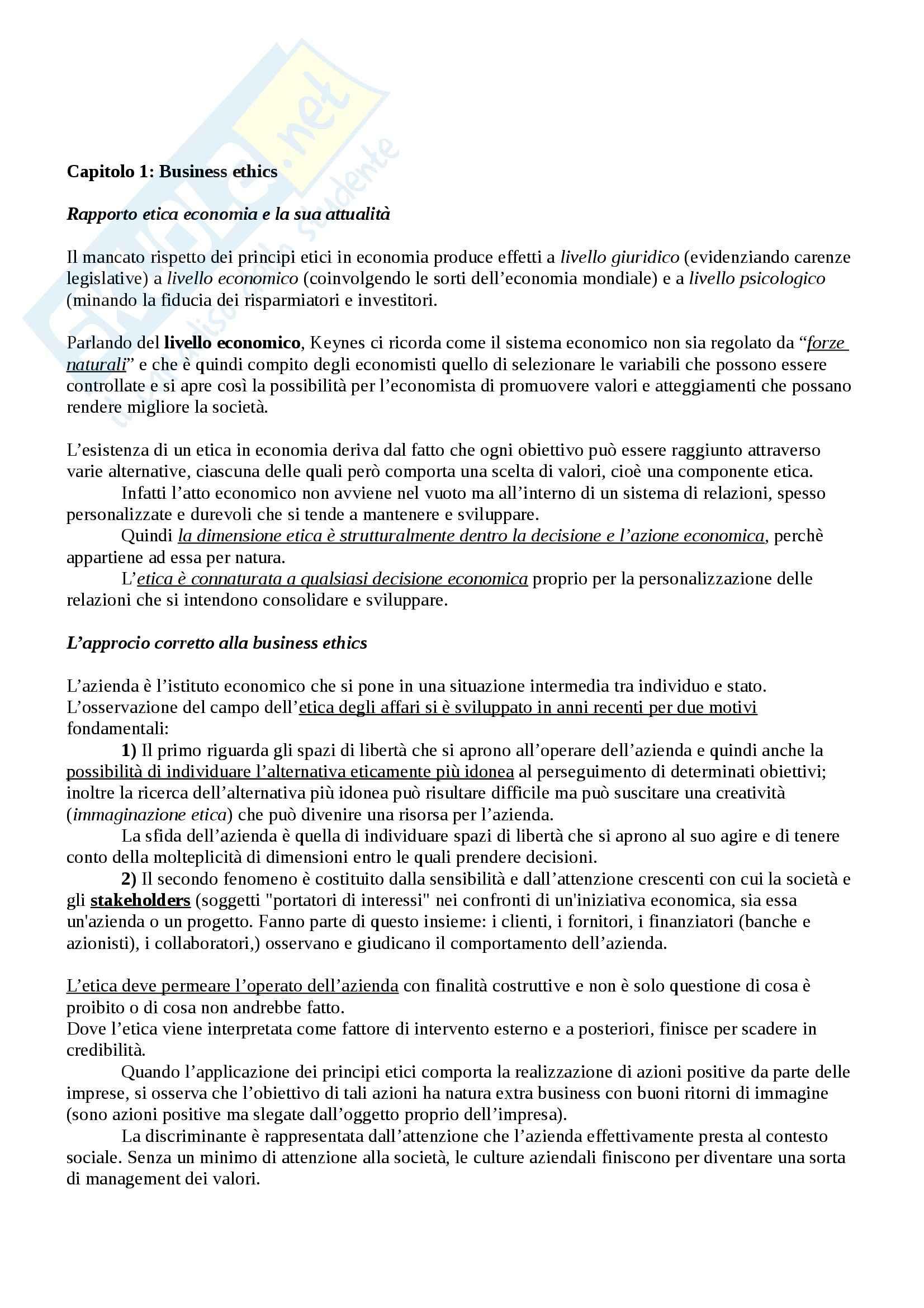 Riassunto esame Etica, prof. Betti, libro consigliato Etica e Deontologia della Comunicazione d'Azienda di Brioschi