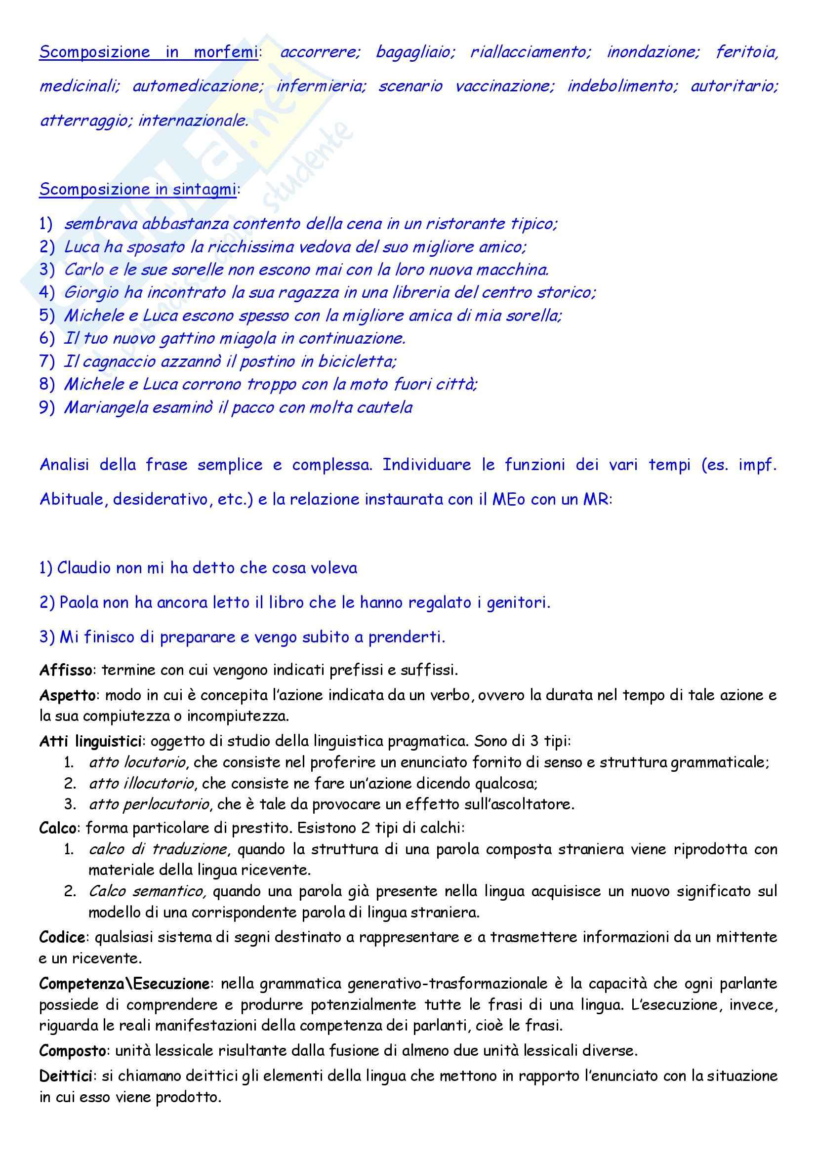 Linguistica italiana - nozioni generali
