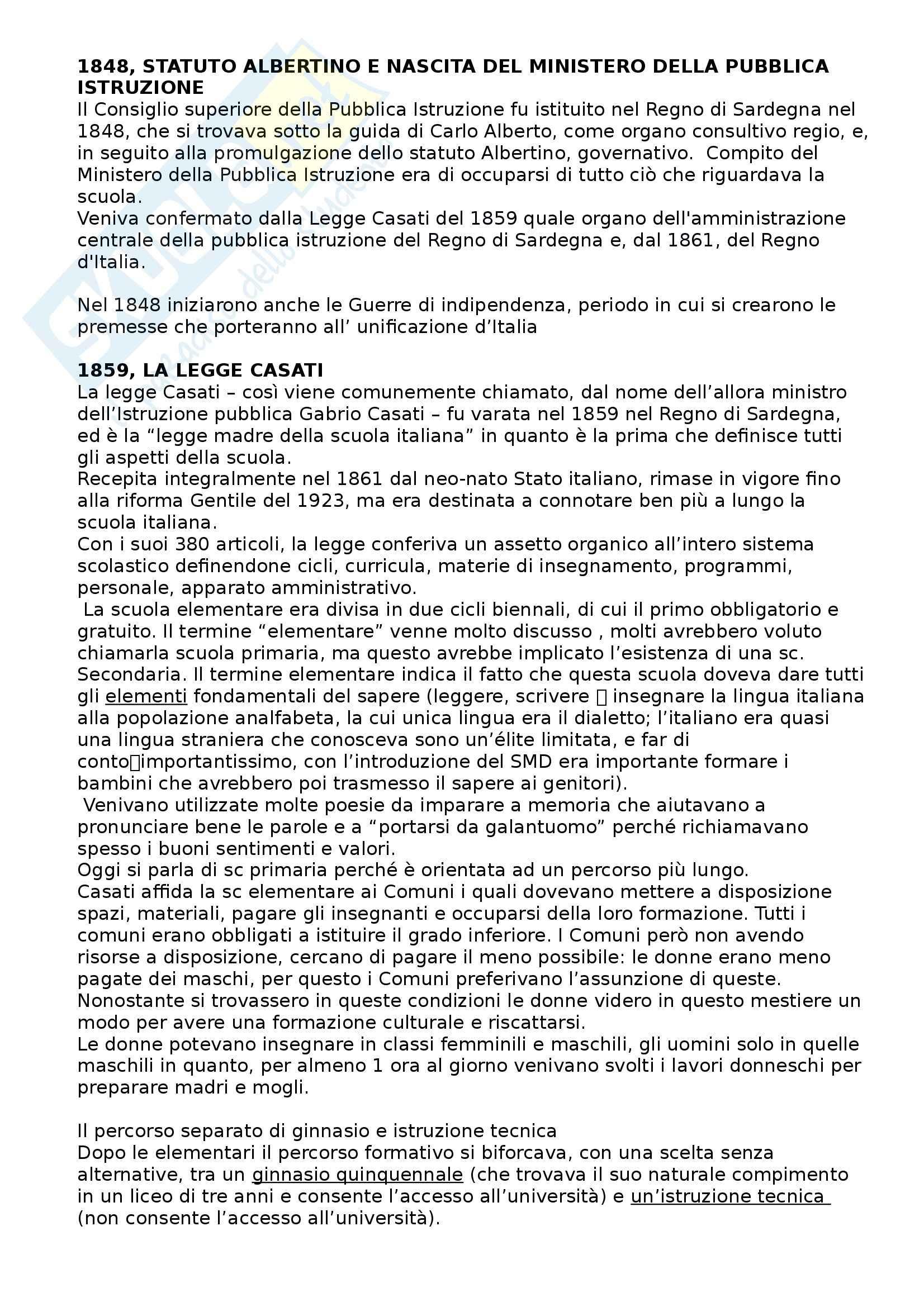 Storia della scuola e delle istituzioni educative - storia della scuola italiana