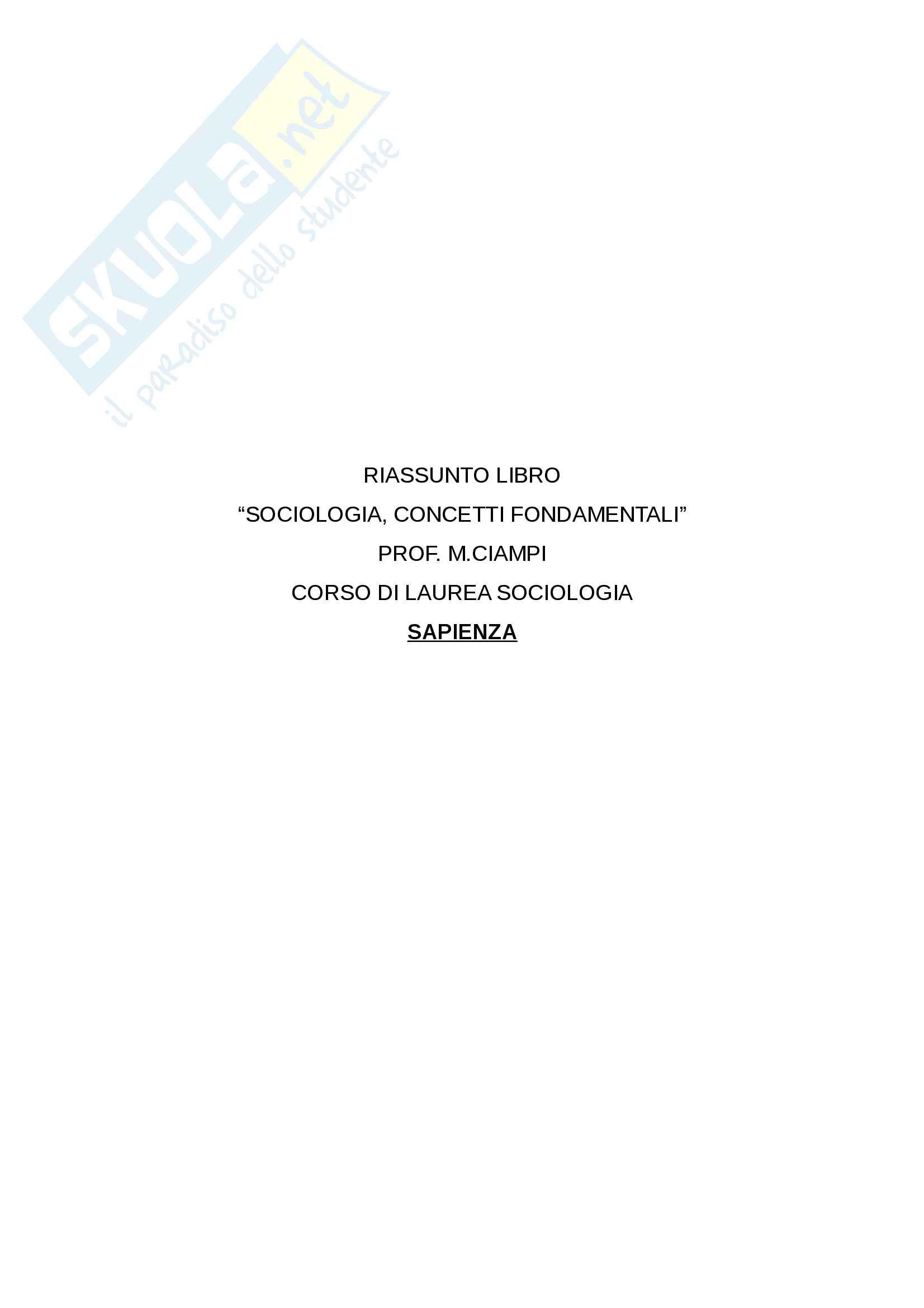 Appunti sociologia, concetti fondamentali M. Ciampi