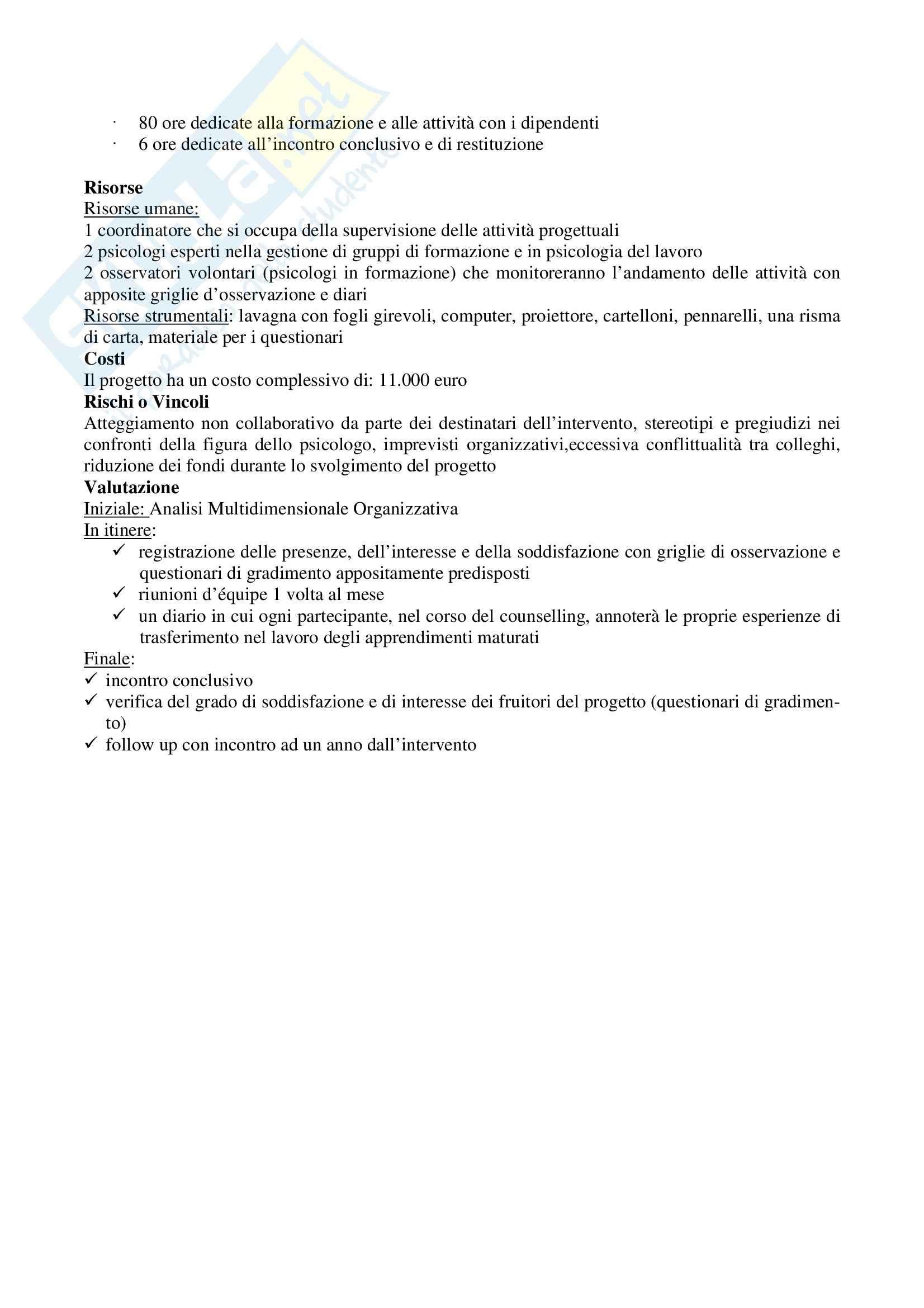 Progetti per esame di stato di Psicologia Pag. 11