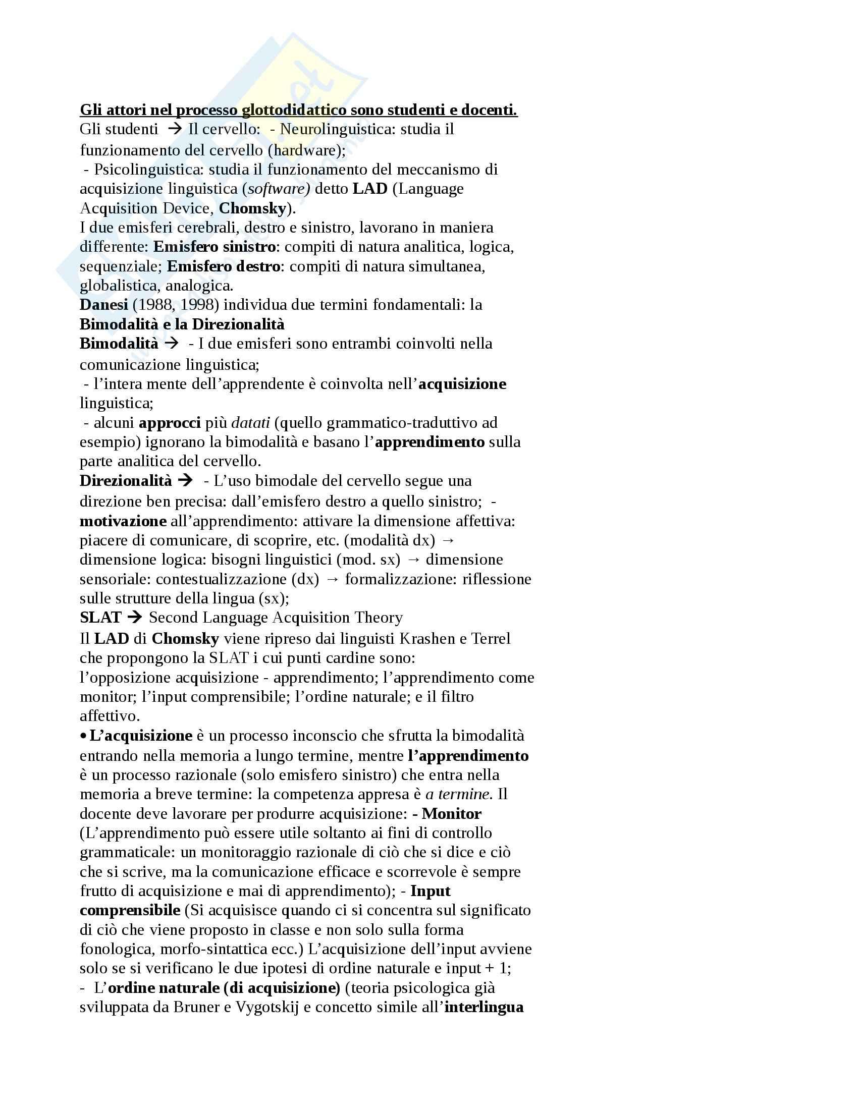 Glottodidattica - Appunti