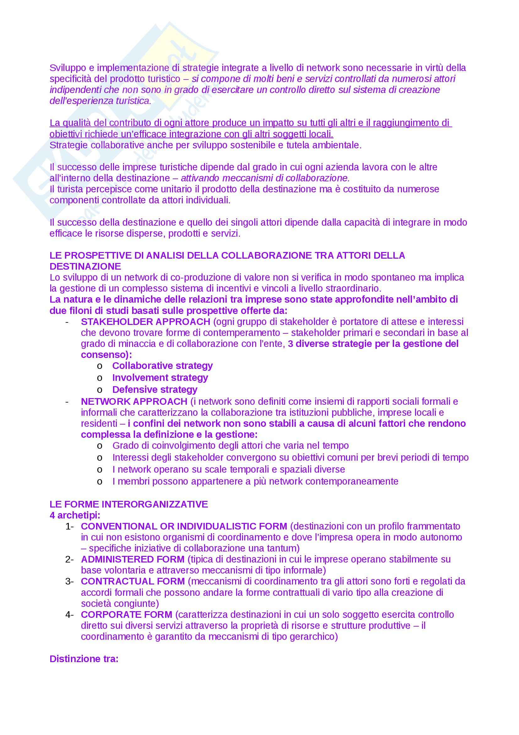 Riassunto esame Economia delle aziende turistiche, prof. De Carlo, libro consigliato La co-creazione del valore nel turismo Pag. 6