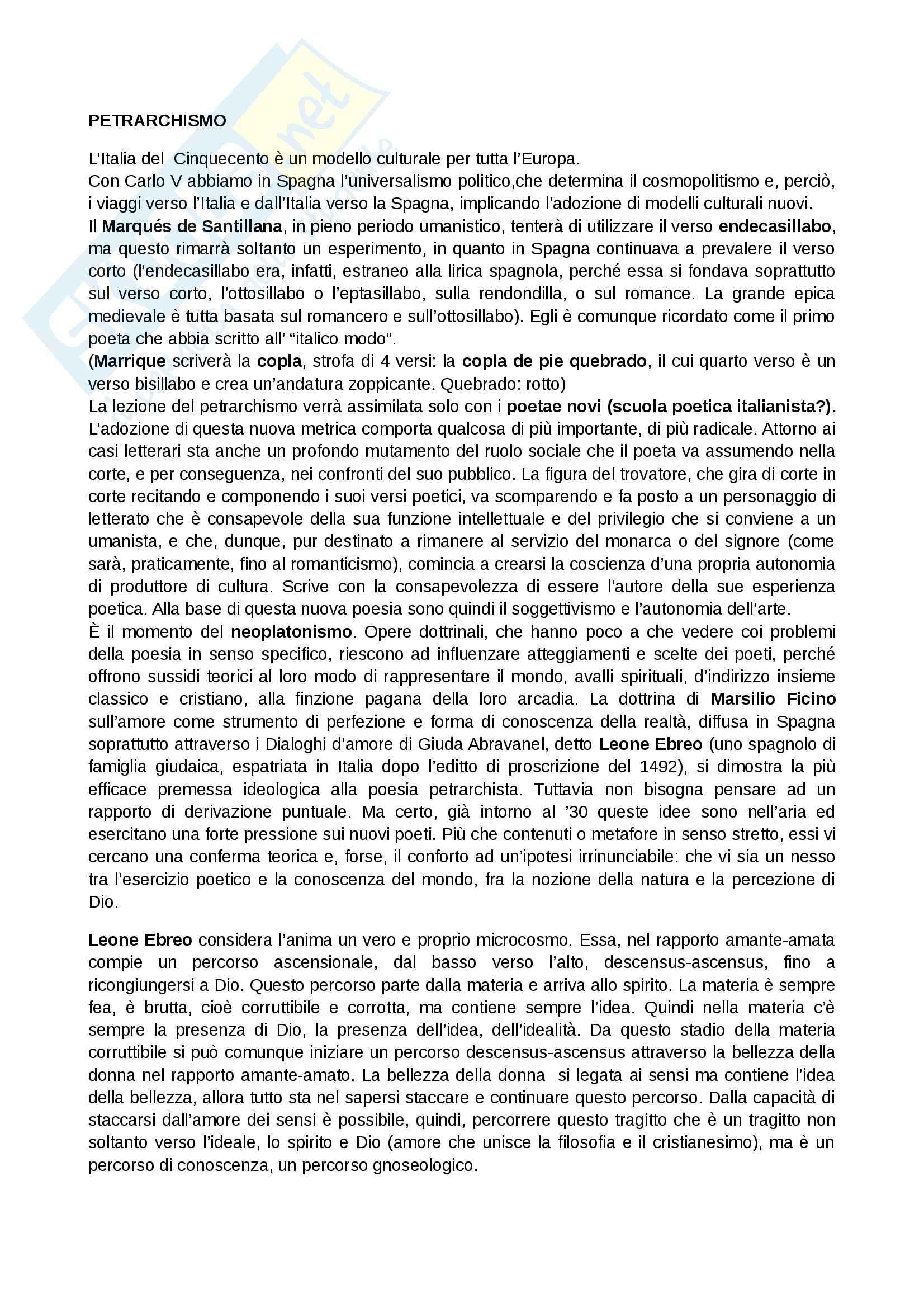 Letteratura spagnola - petrarchismo