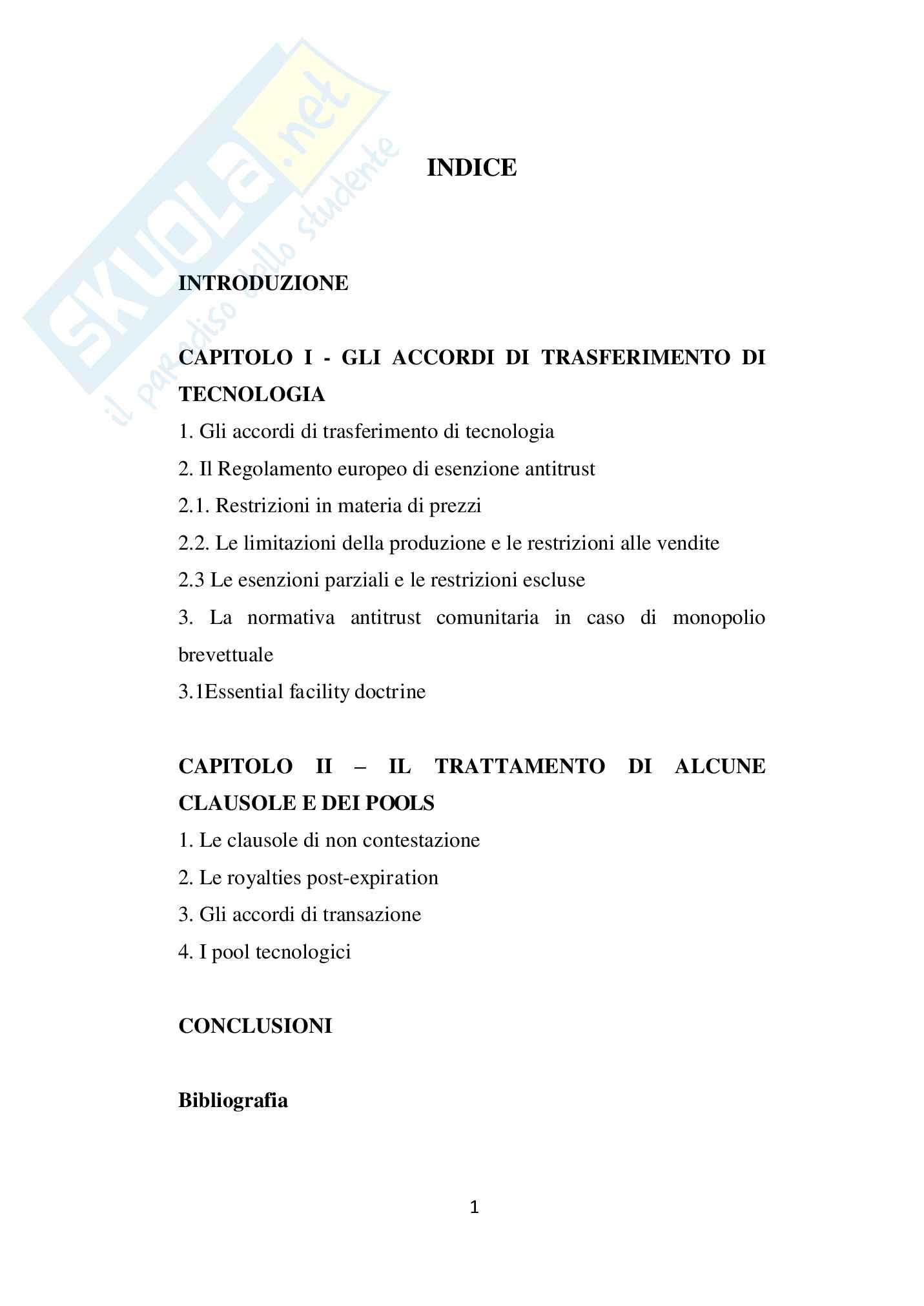 Gli accordi di trasferimento di tecnologia