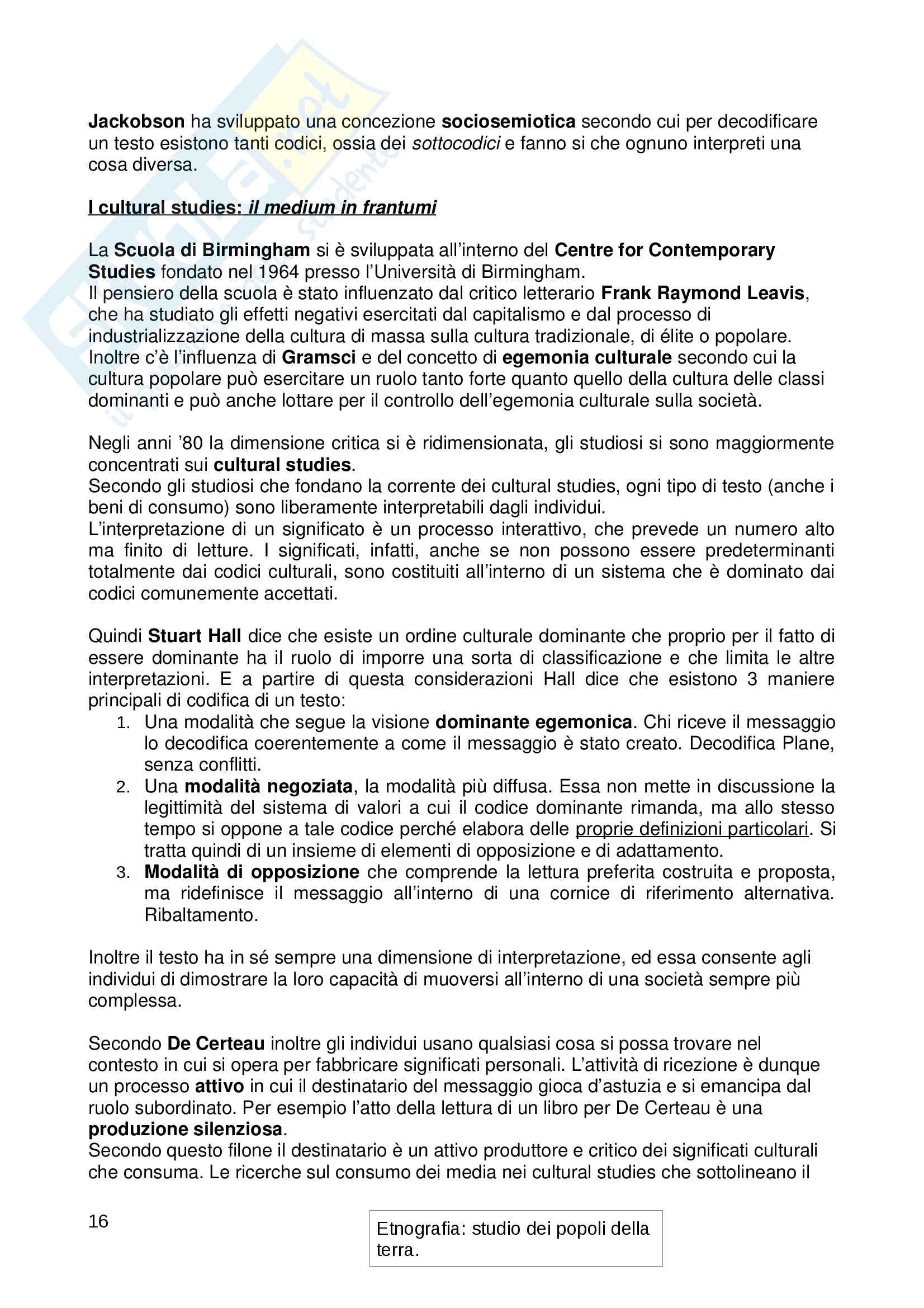 """Riassunto esame """"Sociologia dei Media"""", libro consigliato """"Il ritorno del medium"""" Pag. 16"""