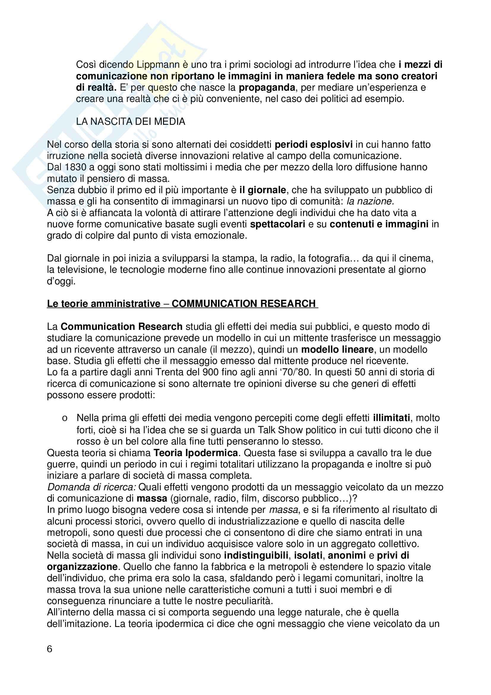 """Riassunto esame """"Sociologia dei Media"""", libro consigliato """"Il ritorno del medium"""" Pag. 6"""
