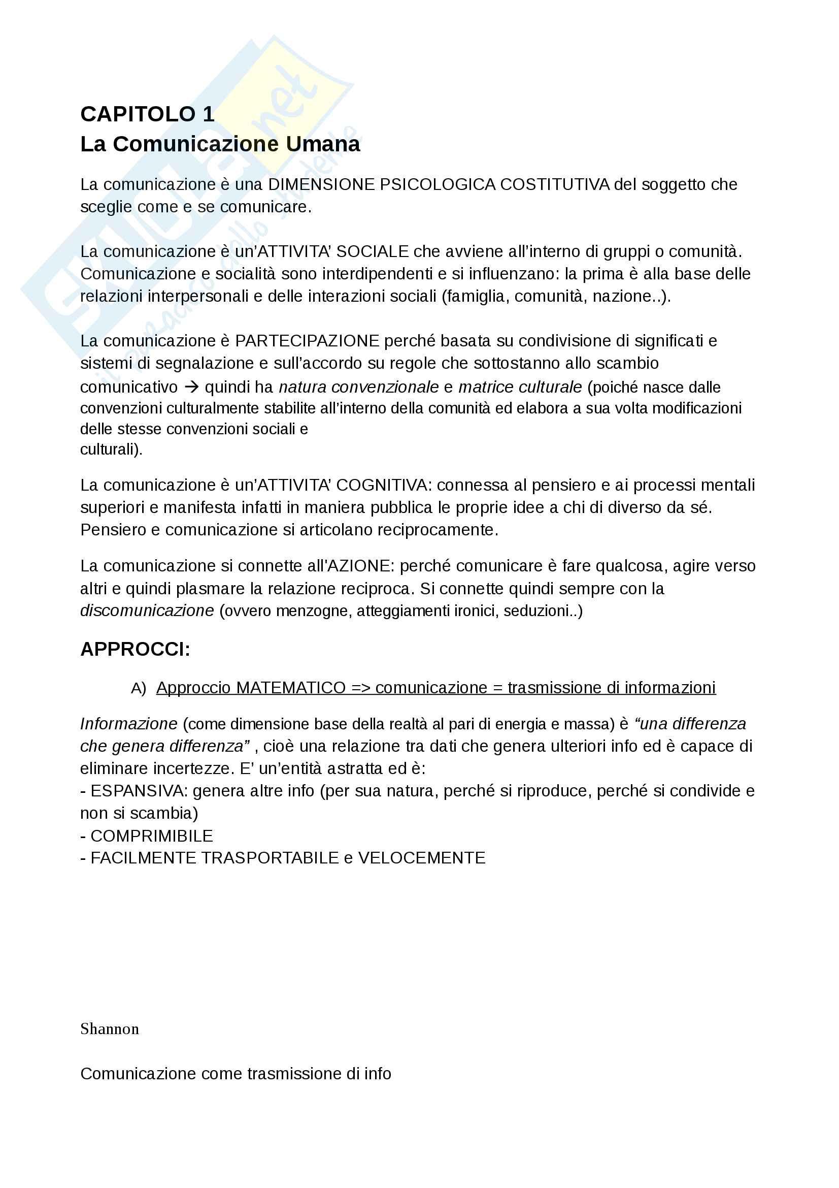 Riassunto esame psicologia della comunicazione, prof. Lucchiari Claudio, libro consigliato Fondamenti di psicologia della comunicazione, Anolli